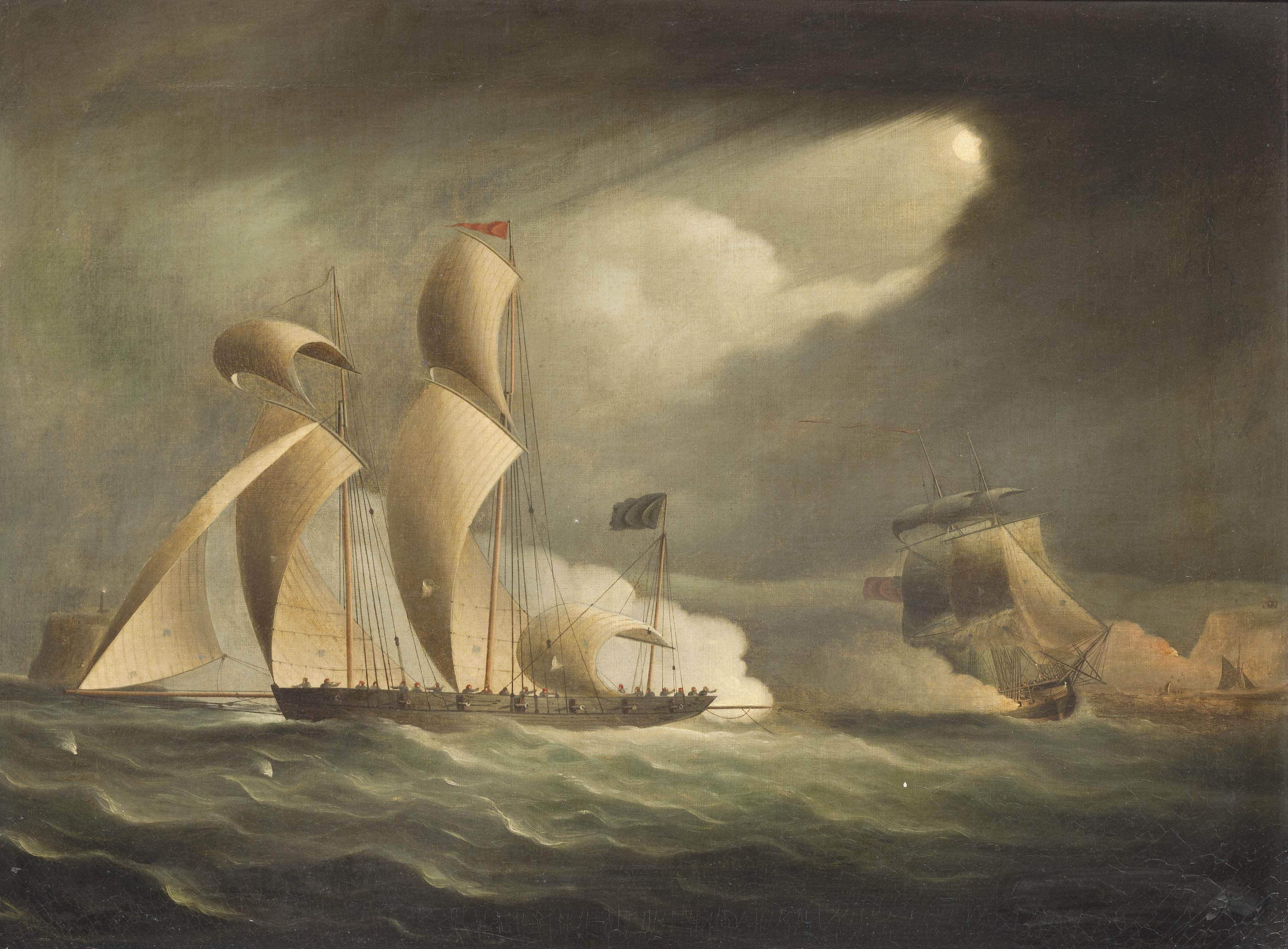 A Royal Navy frigate engaging and chasing a pirate lugger under the cover of darkness