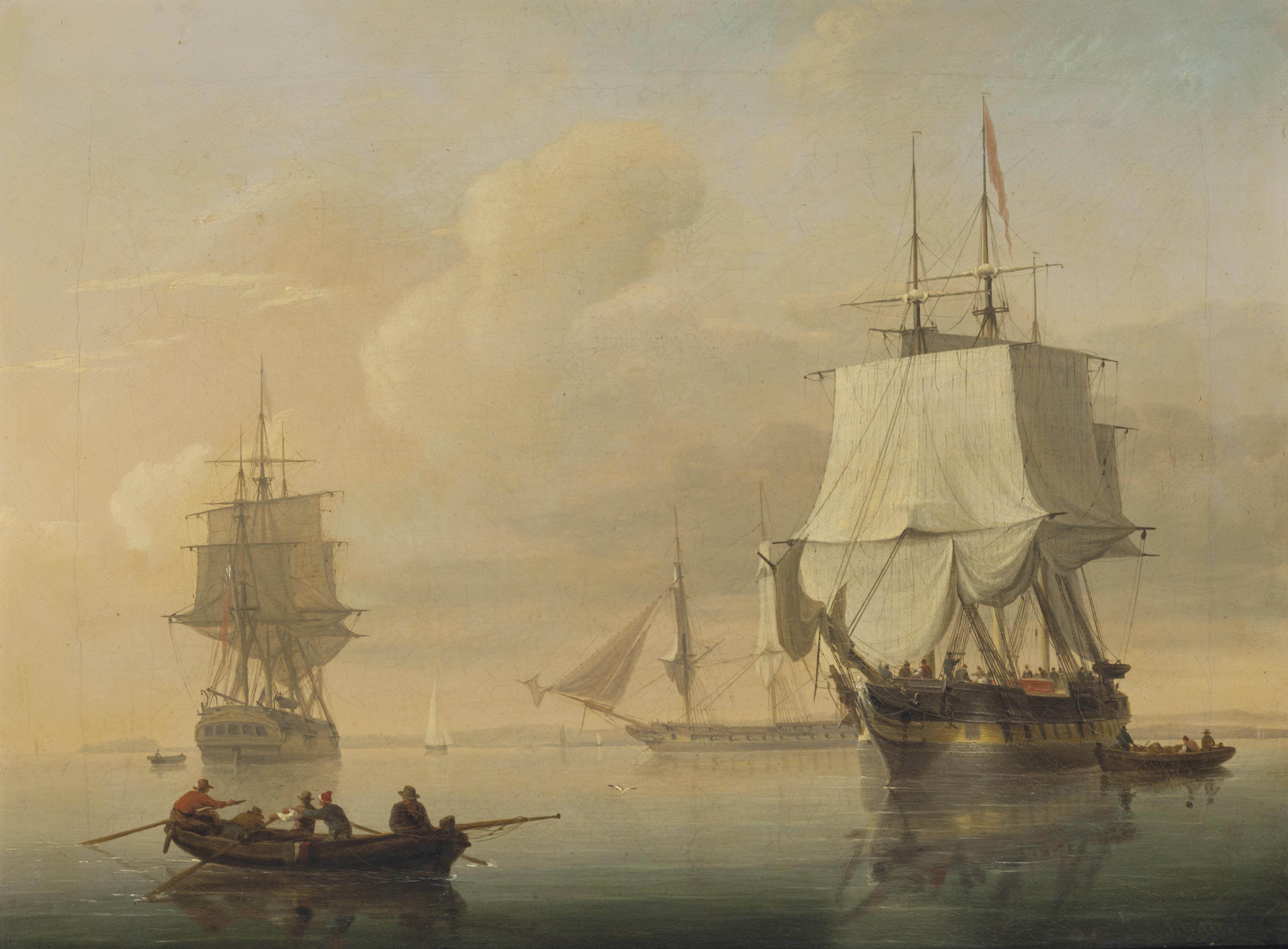 Merchantmen drifting in light airs off Avonmouth, Bristol