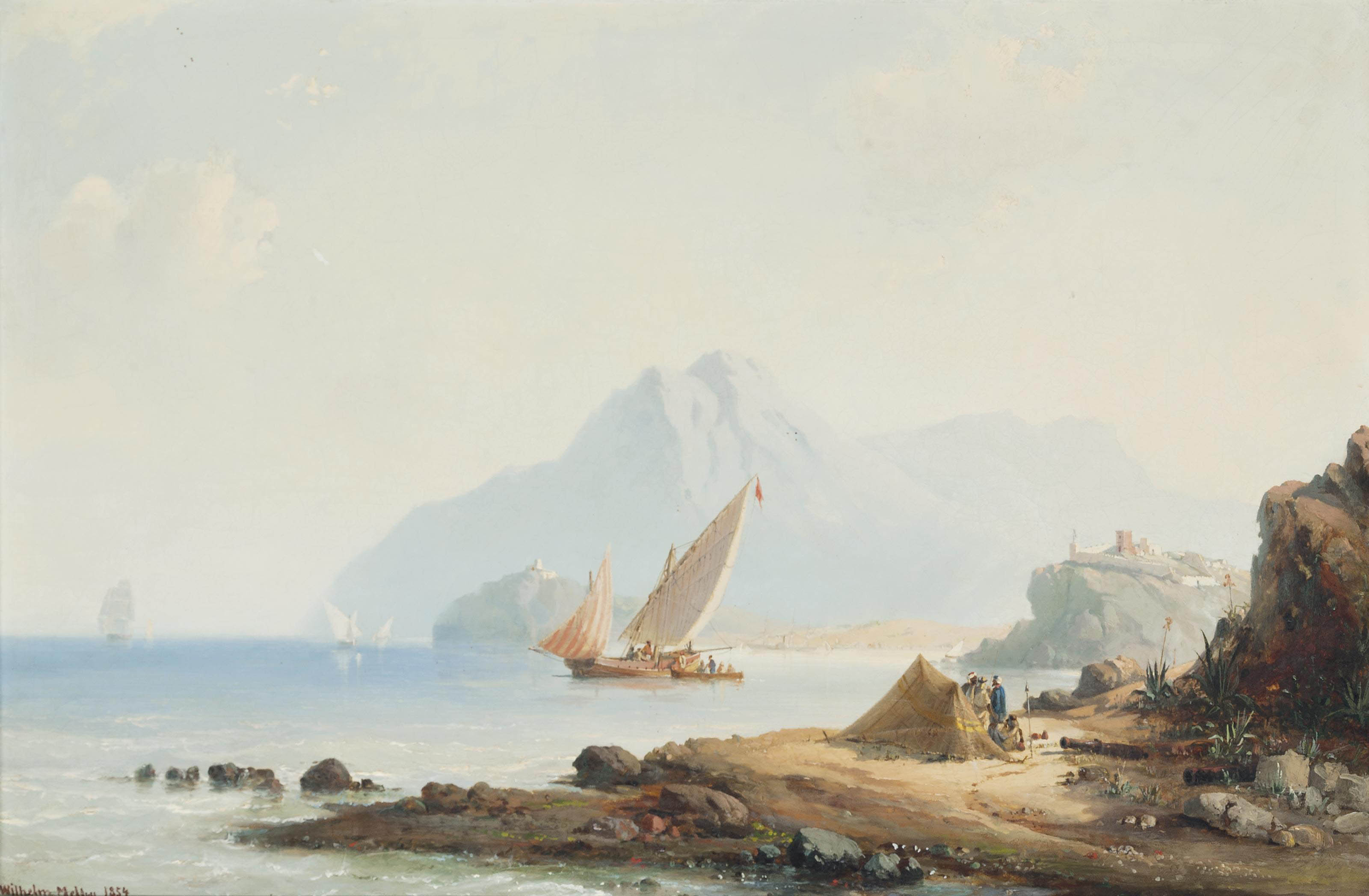 Xebecs and other coastal craft in the Mediterranean off Tangiers, Morocco