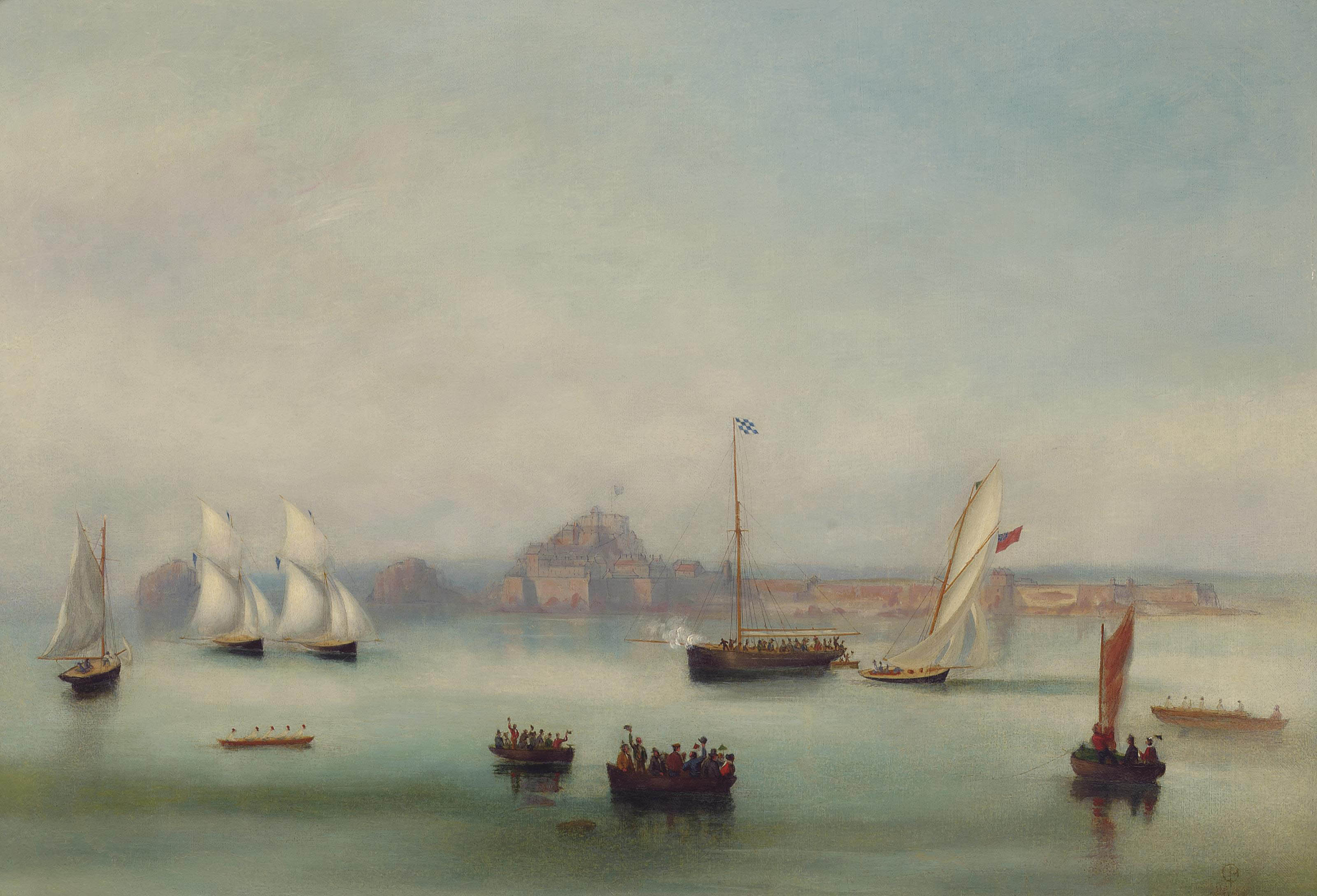Bonita crossing the line, ahead of Luline and L'Hirondelle after a close-run three-hour race, on 21th August 1862, off St Helier, one of the first races of the newly formed Royal Channel Islands Yacht Club