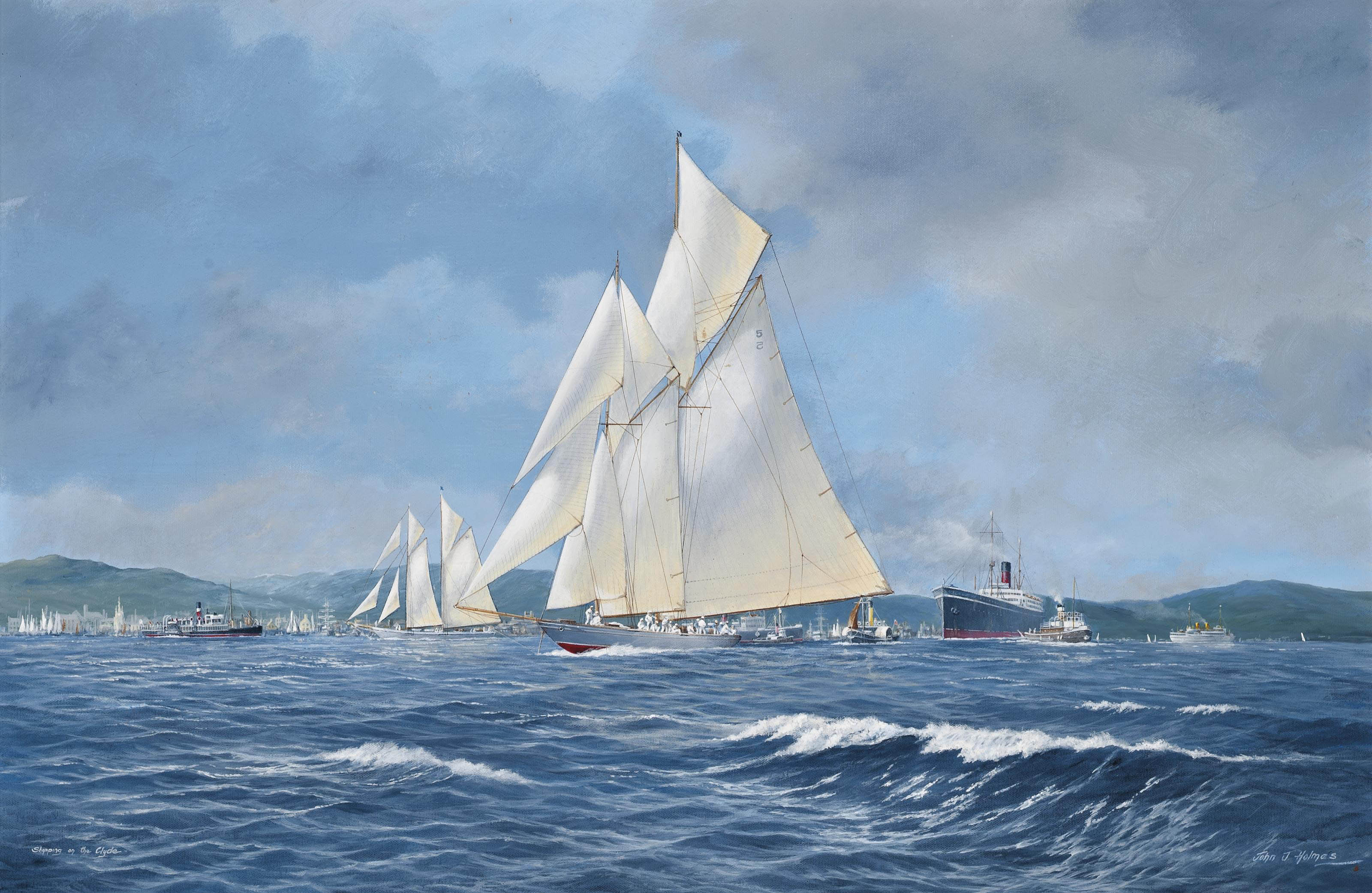 Westward racing on the Clyde with the paddle steamer Marmion off her starboard beam; and Britannia and Westward racing to windward on the Clyde