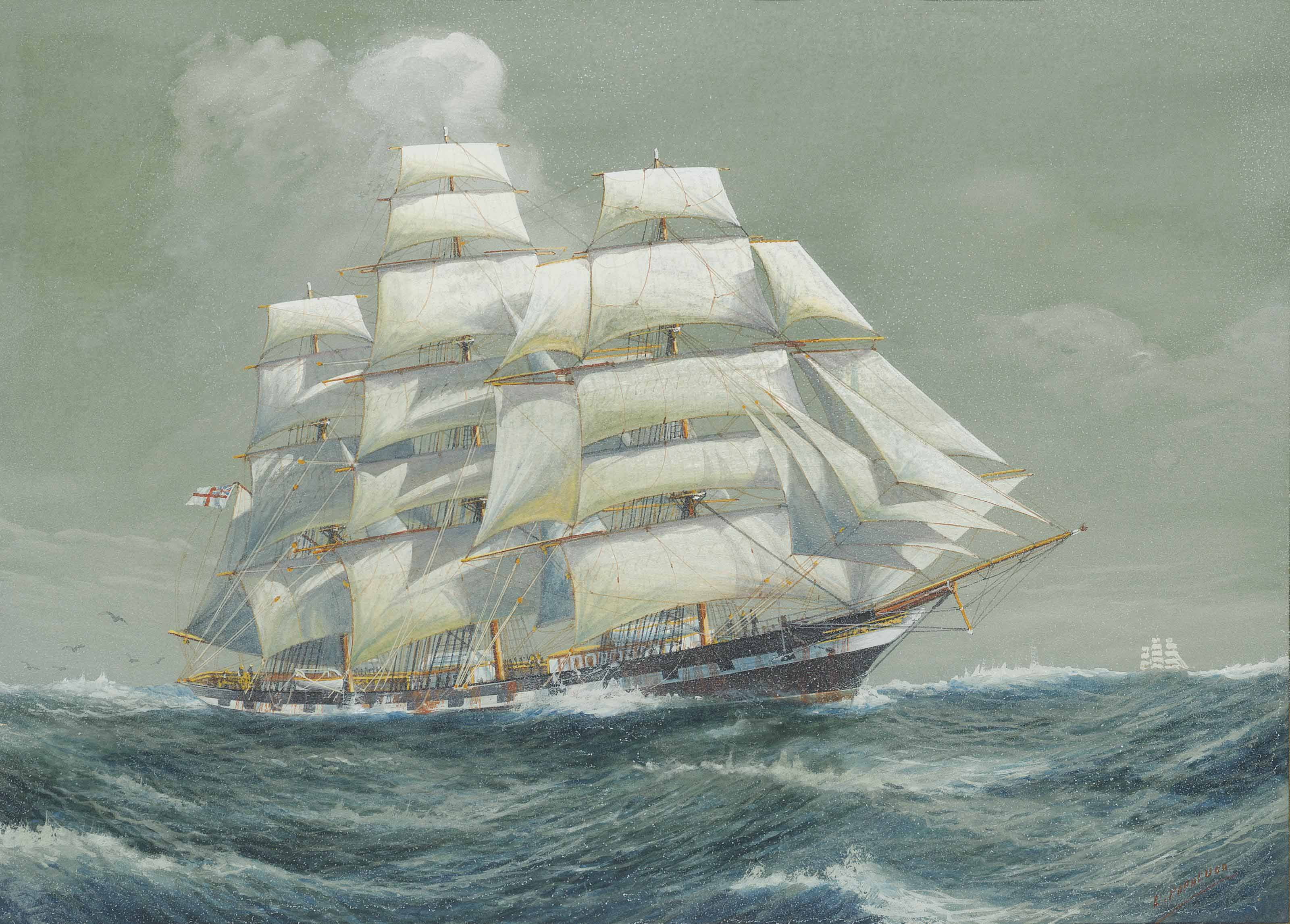 A fully-rigged ship running down the Channel