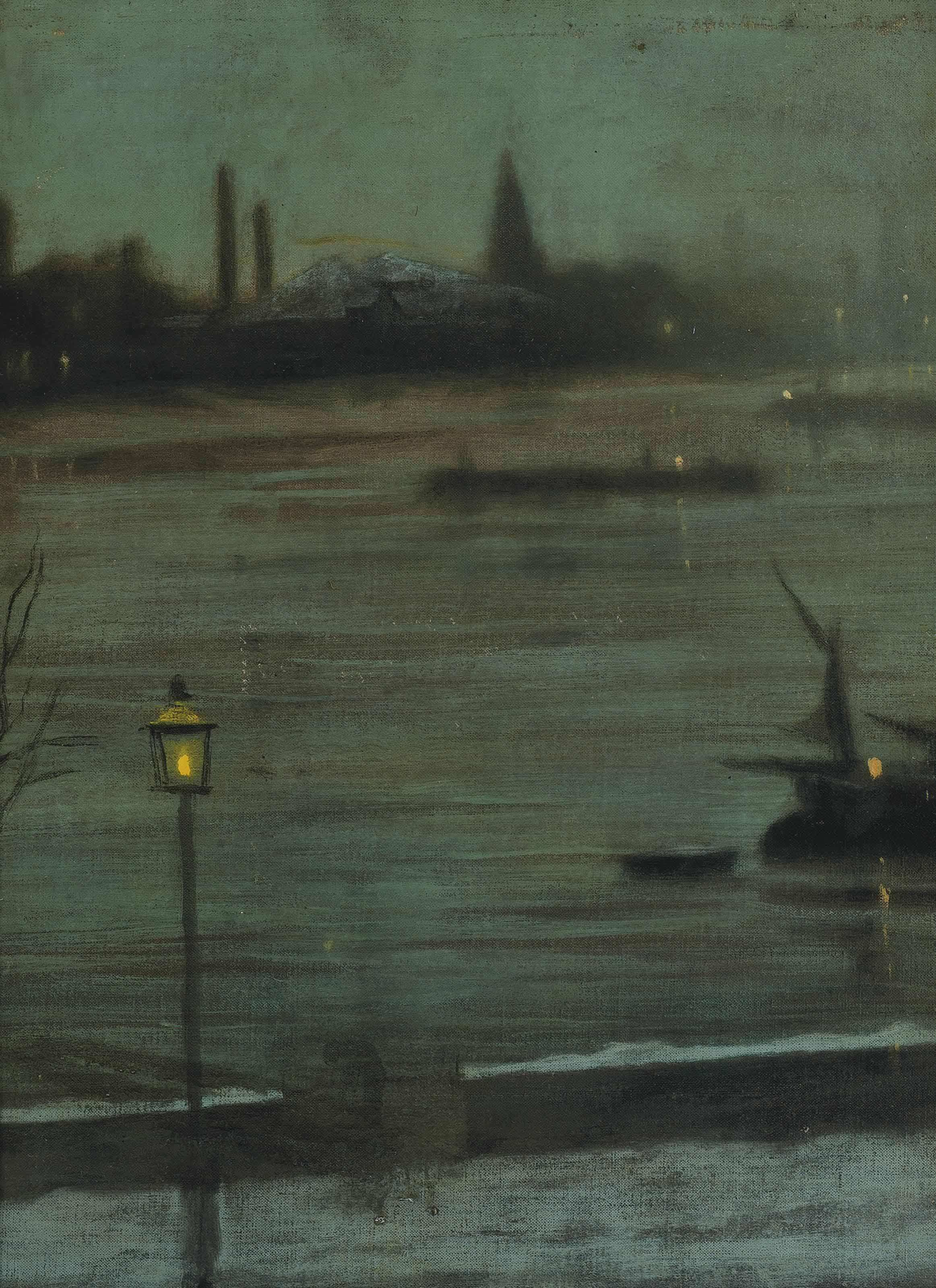 Thames nocturne: Battersea Reach from Cheyne Walk