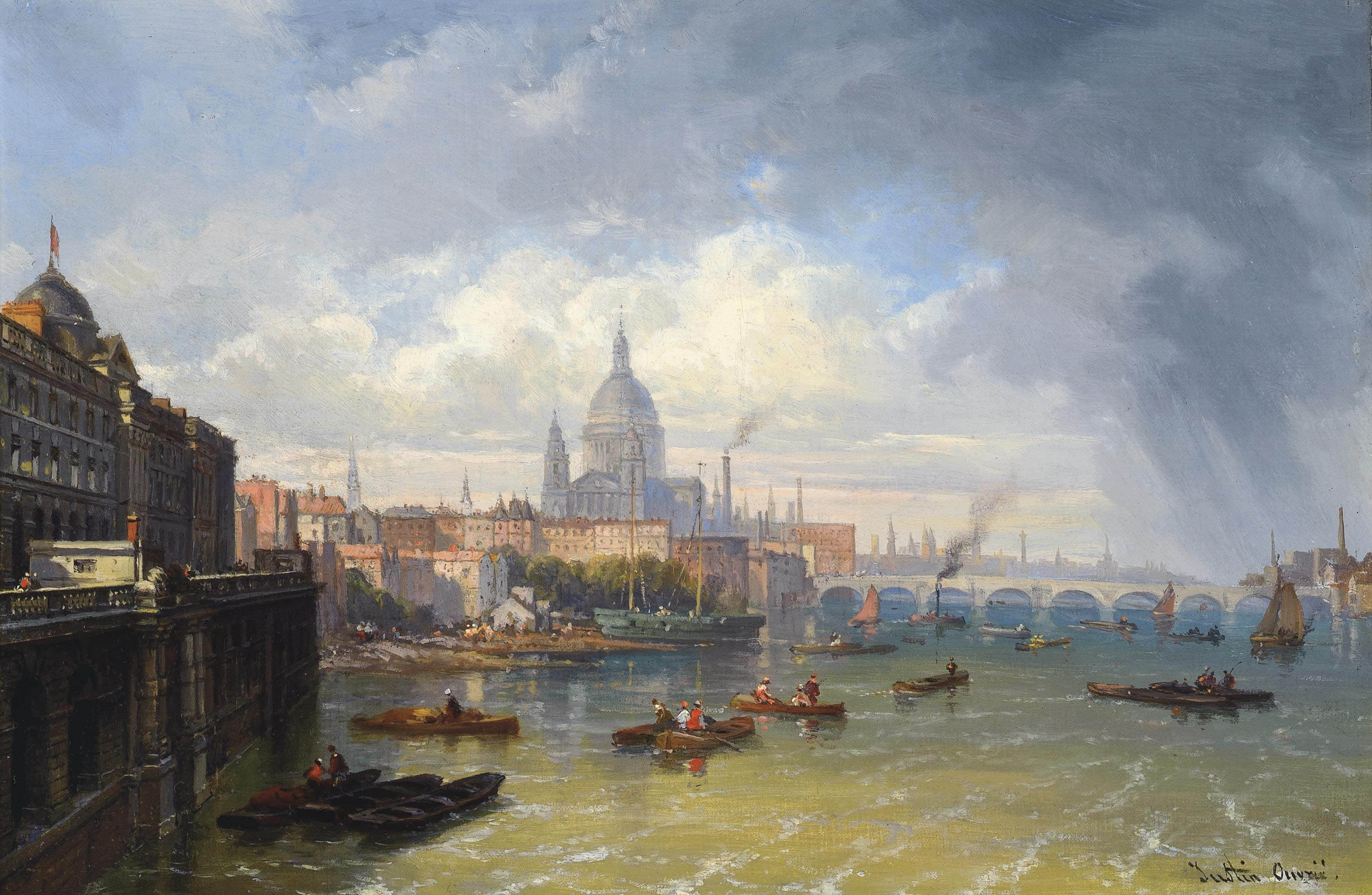 The Thames with Somerset House and St. Paul's Cathedral beyond