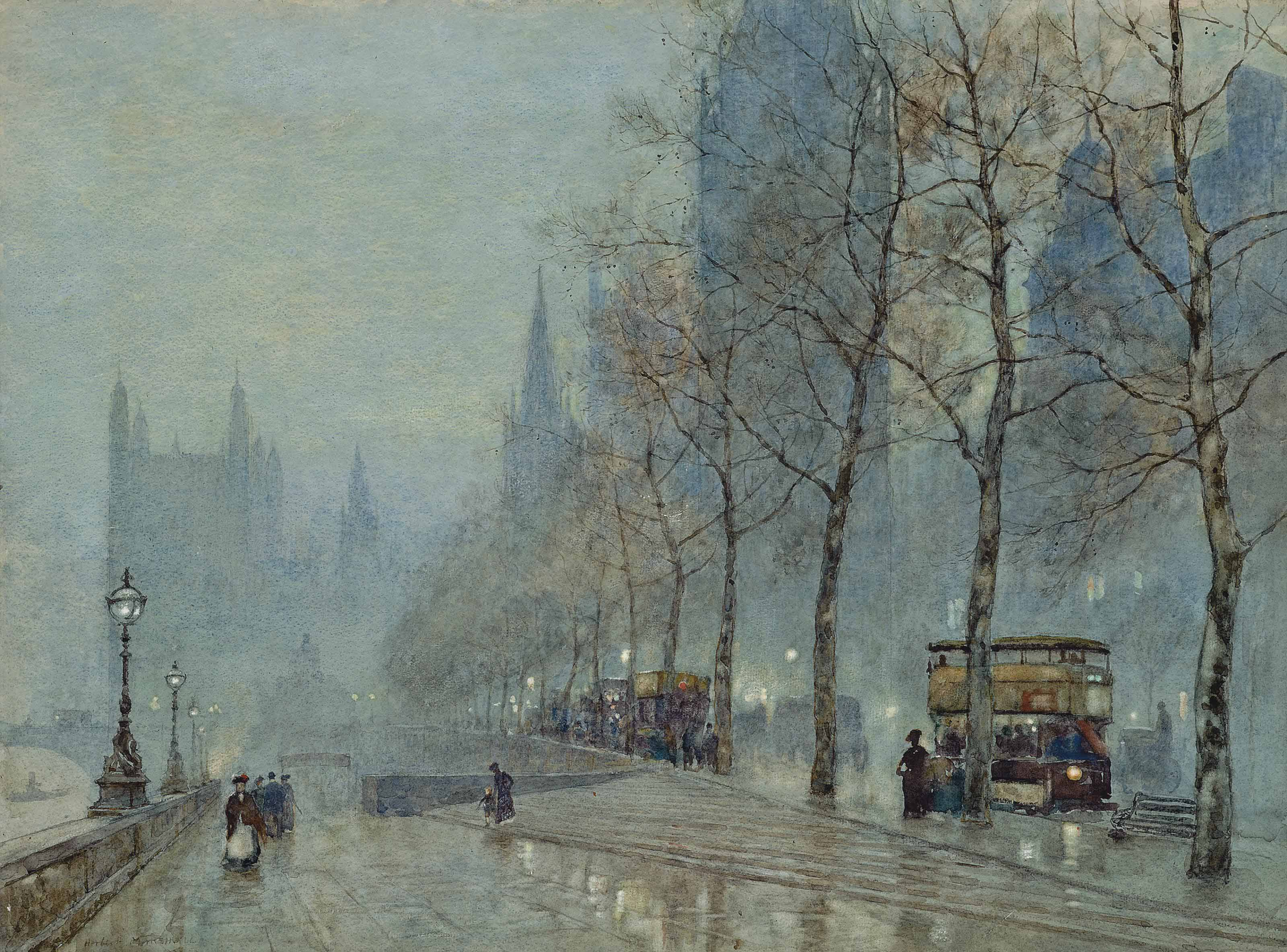 A winter's evening on the Embankment with the Houses of Parliament beyond