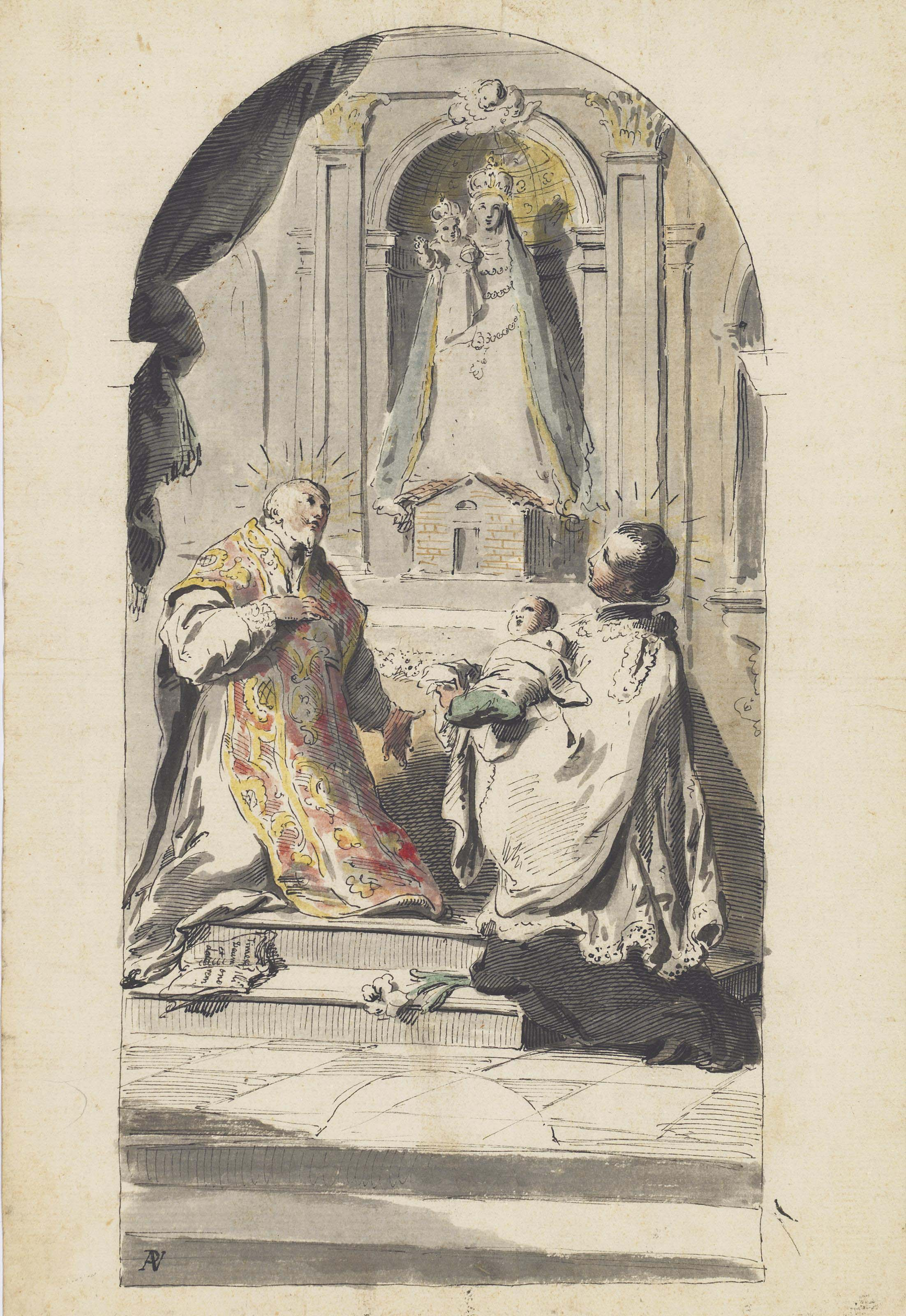 The Madonna of Loreto adored by a bishop saint, with a text from Revelations, and Saint Stanislaus Kostka