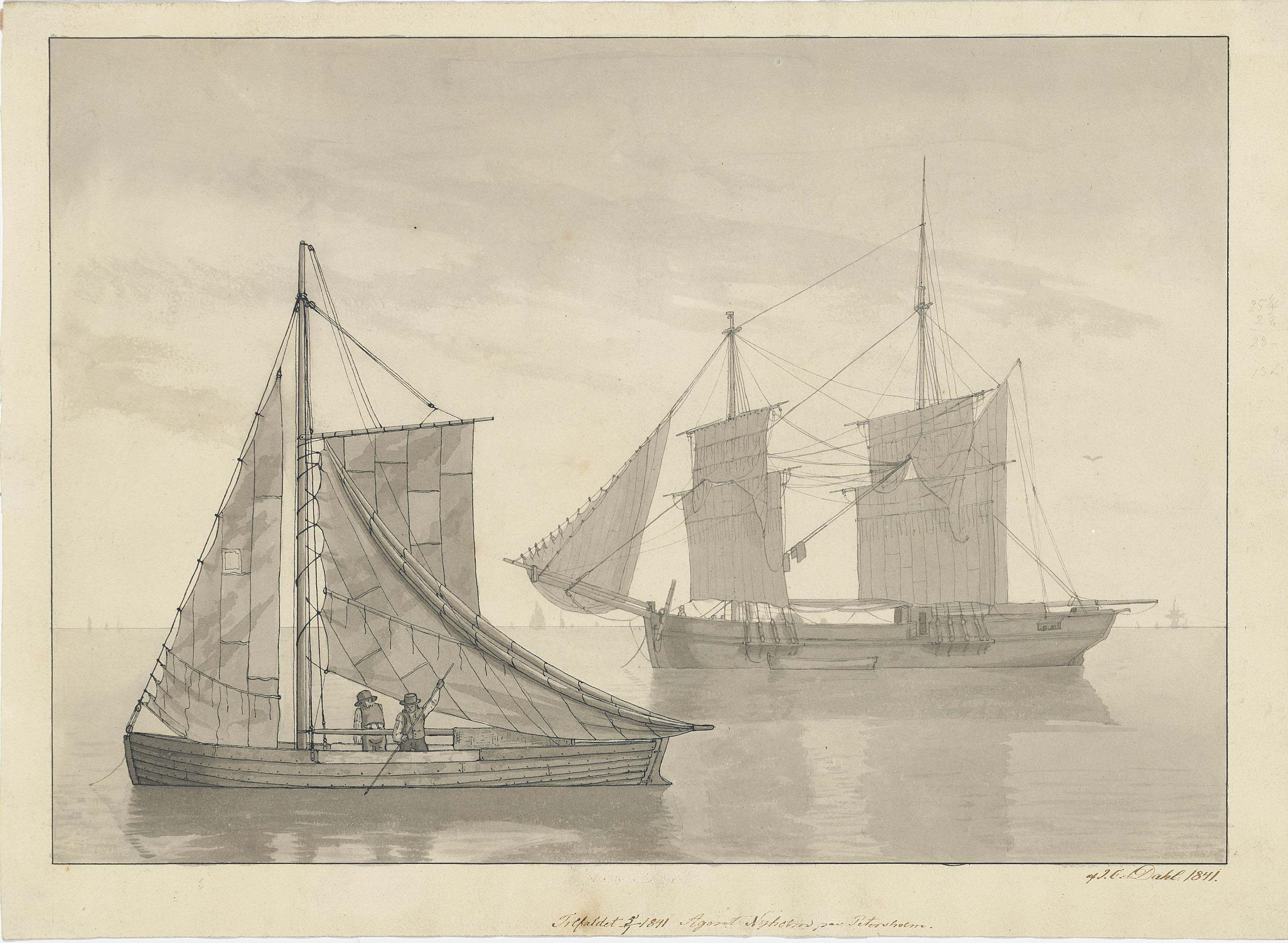 A fishing vessel and a ship at anchor near Petersholm