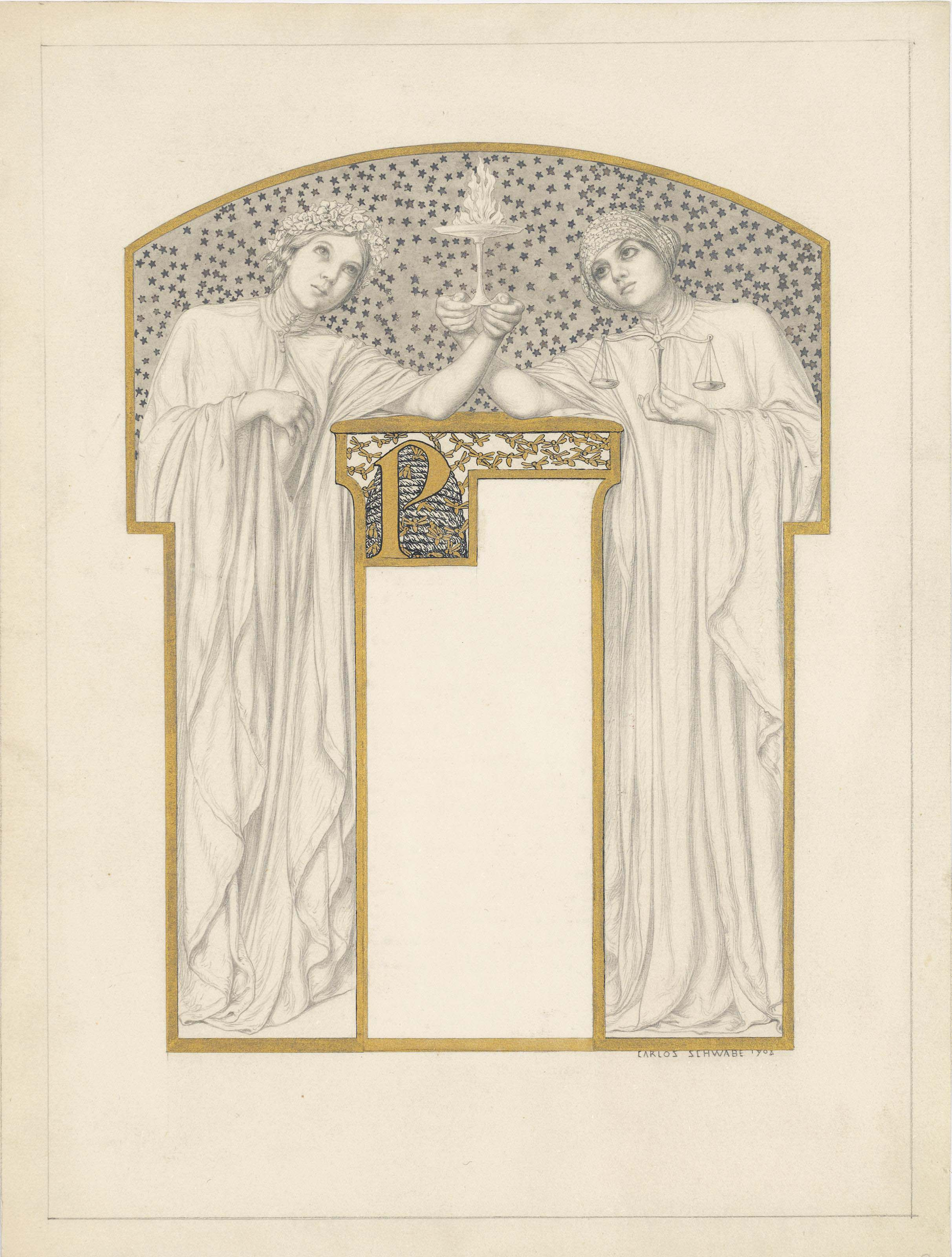 Allegorical figures holding a flaming tazza; design for a chapter heading