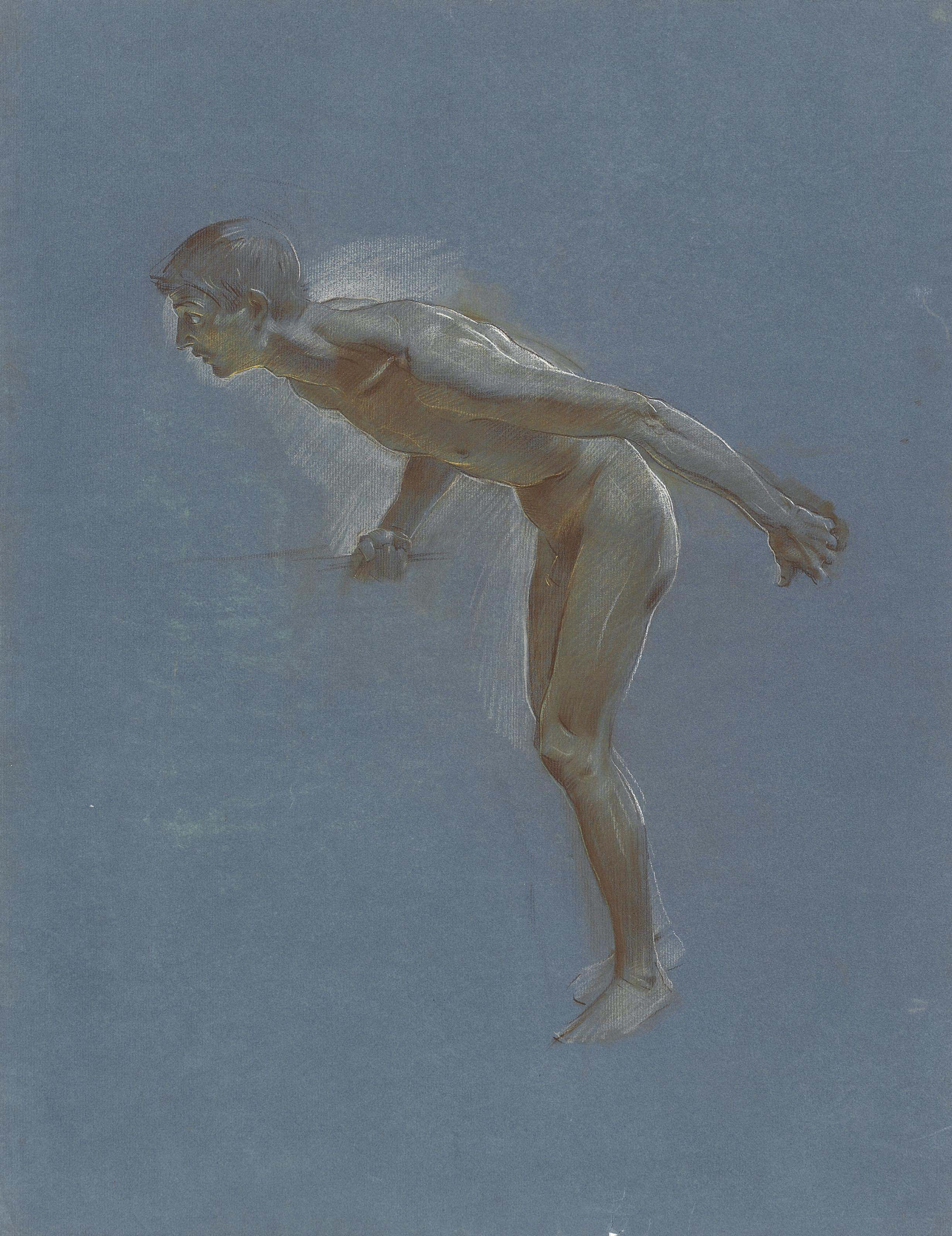 A male nude, leaning forward, holding a bar