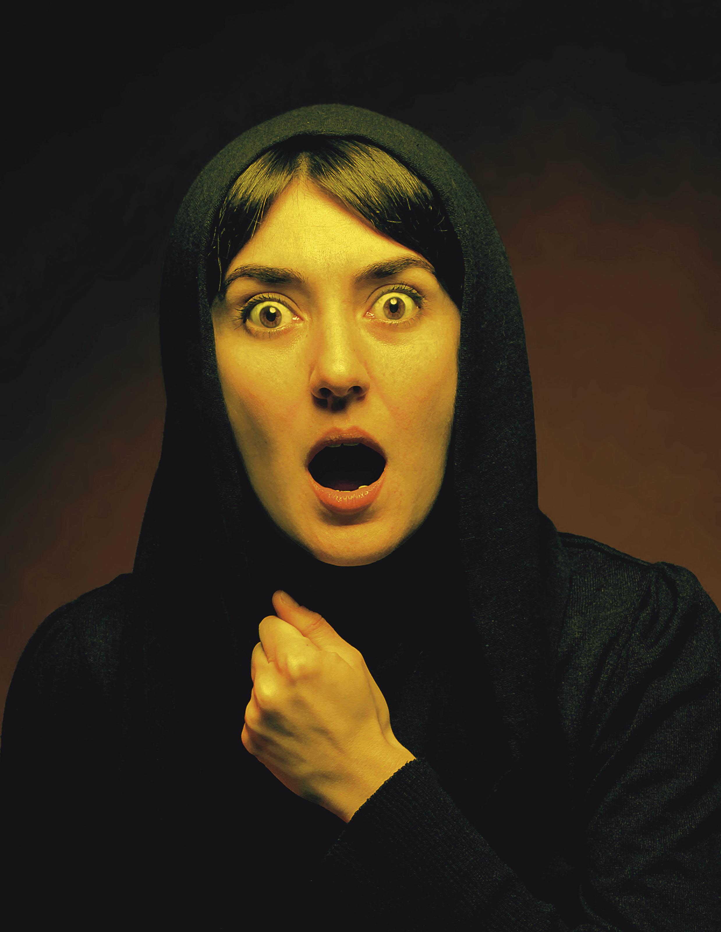 Self-portrait as Screaming Lady (After Nuri Iyem)