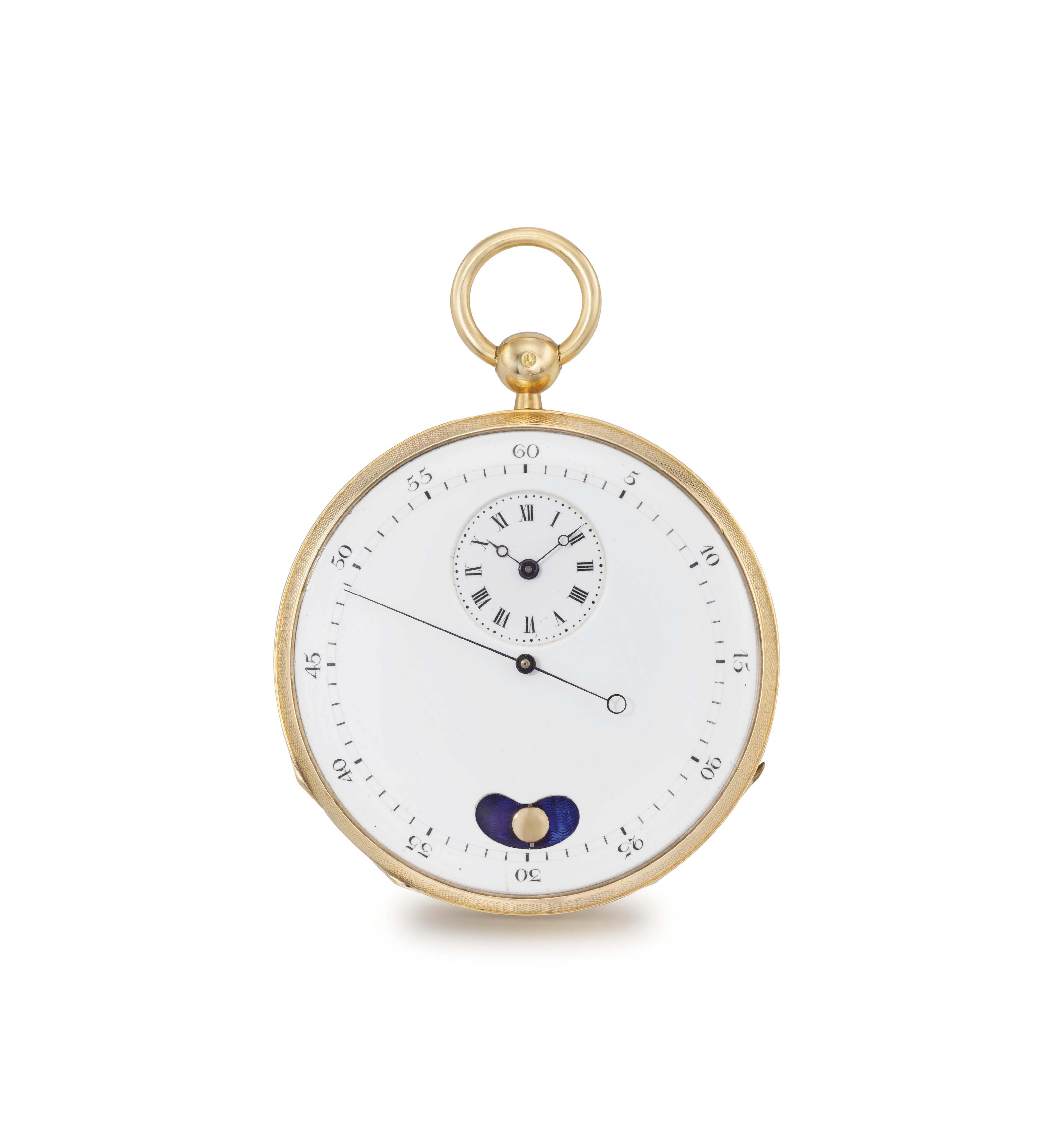 Grandjean Père & Fils. An 18K gold openface dead centre seconds watch with mock pendulum