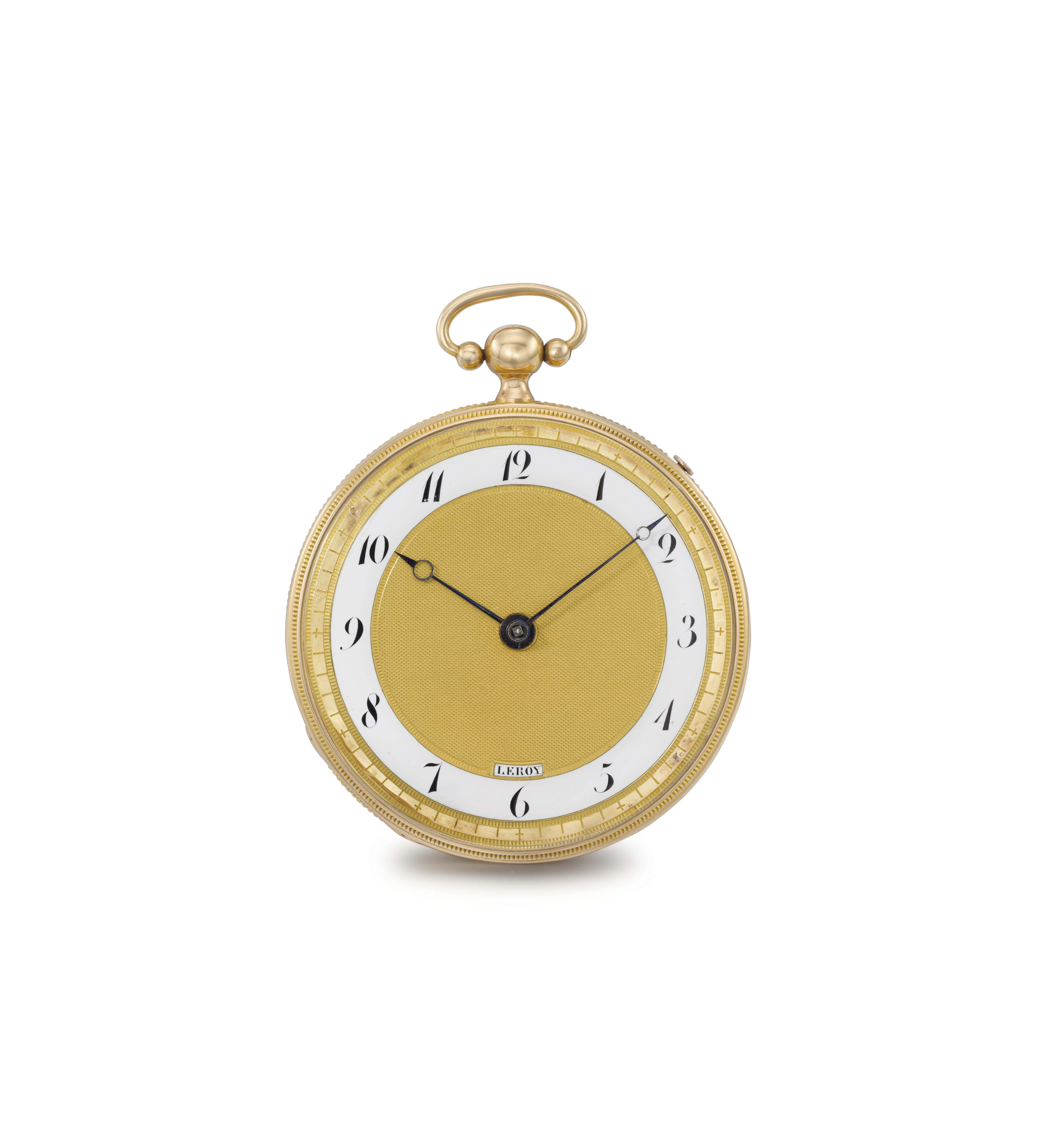 Leroy. An unusual 18K gold openface quarter repeating cylinder watch