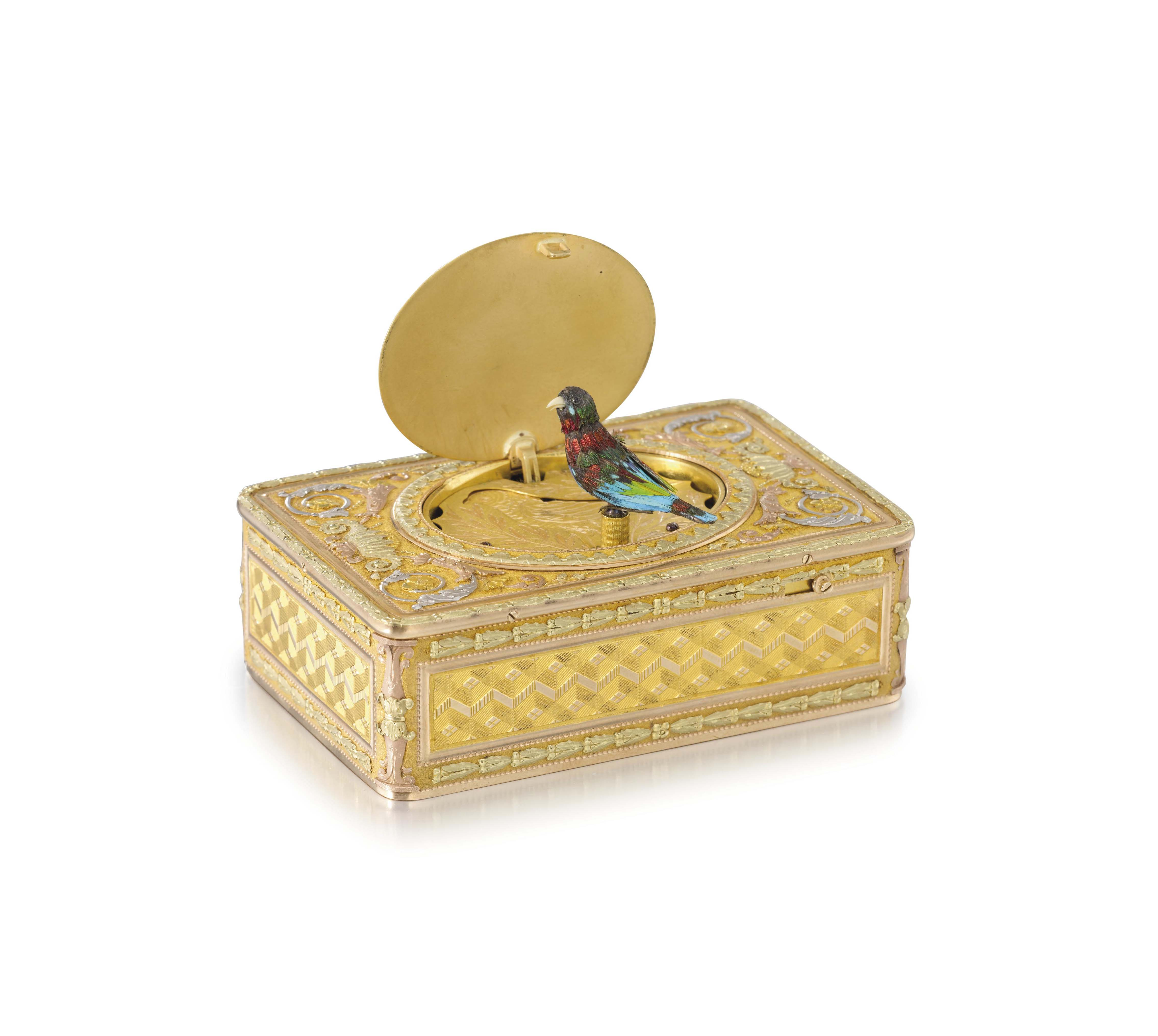 Freres Rochat and Joly & Chenevard. An extremely fine and rare 18K three colour gold and enamel musical singing bird box, the enamel in the manner of Jean-François-Victor Dupont