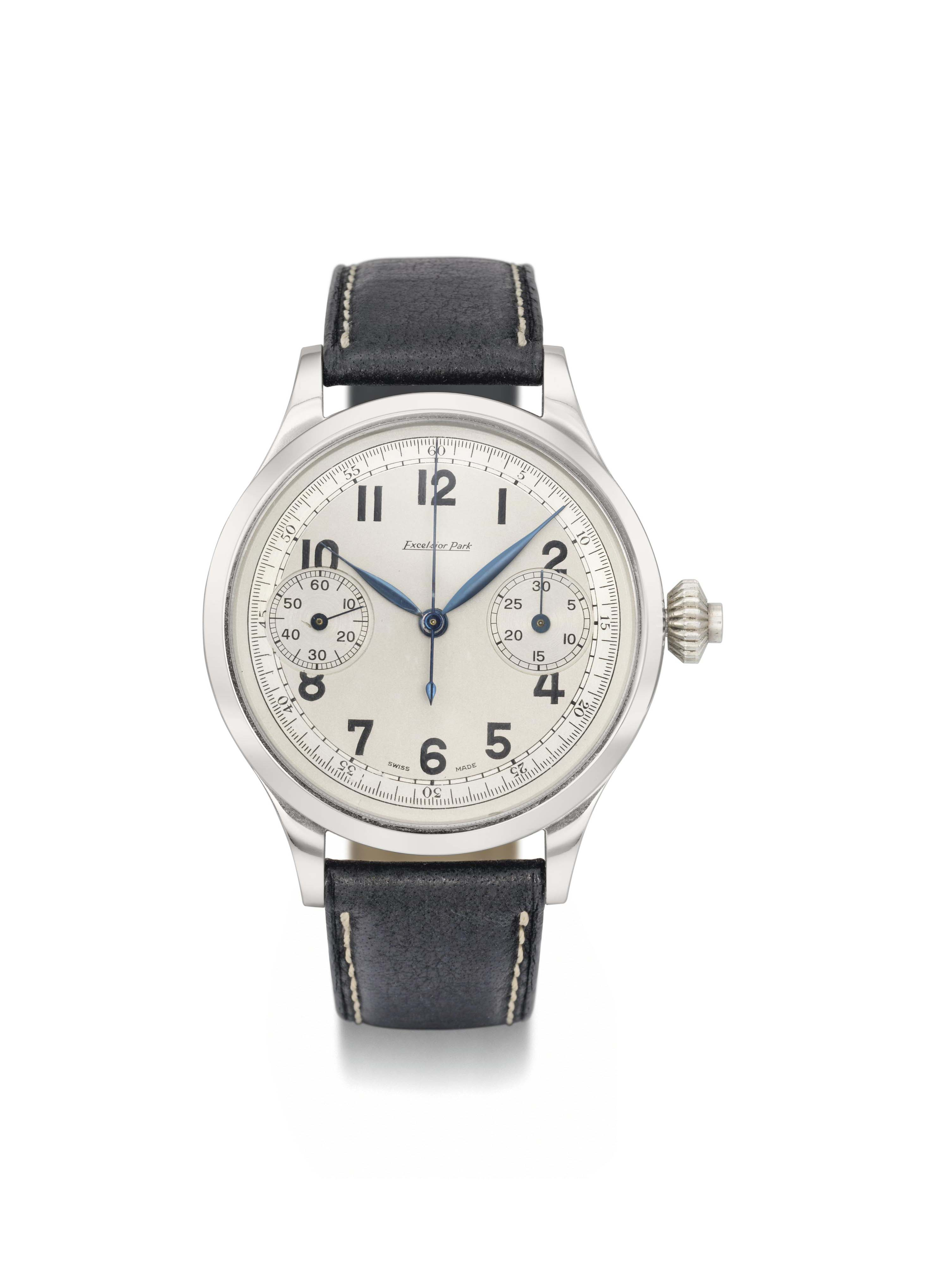 Excelsior Park. An unusual oversized stainless steel single button chronograph wristwatch with two-tone silvered dial and patented spare parts compartment