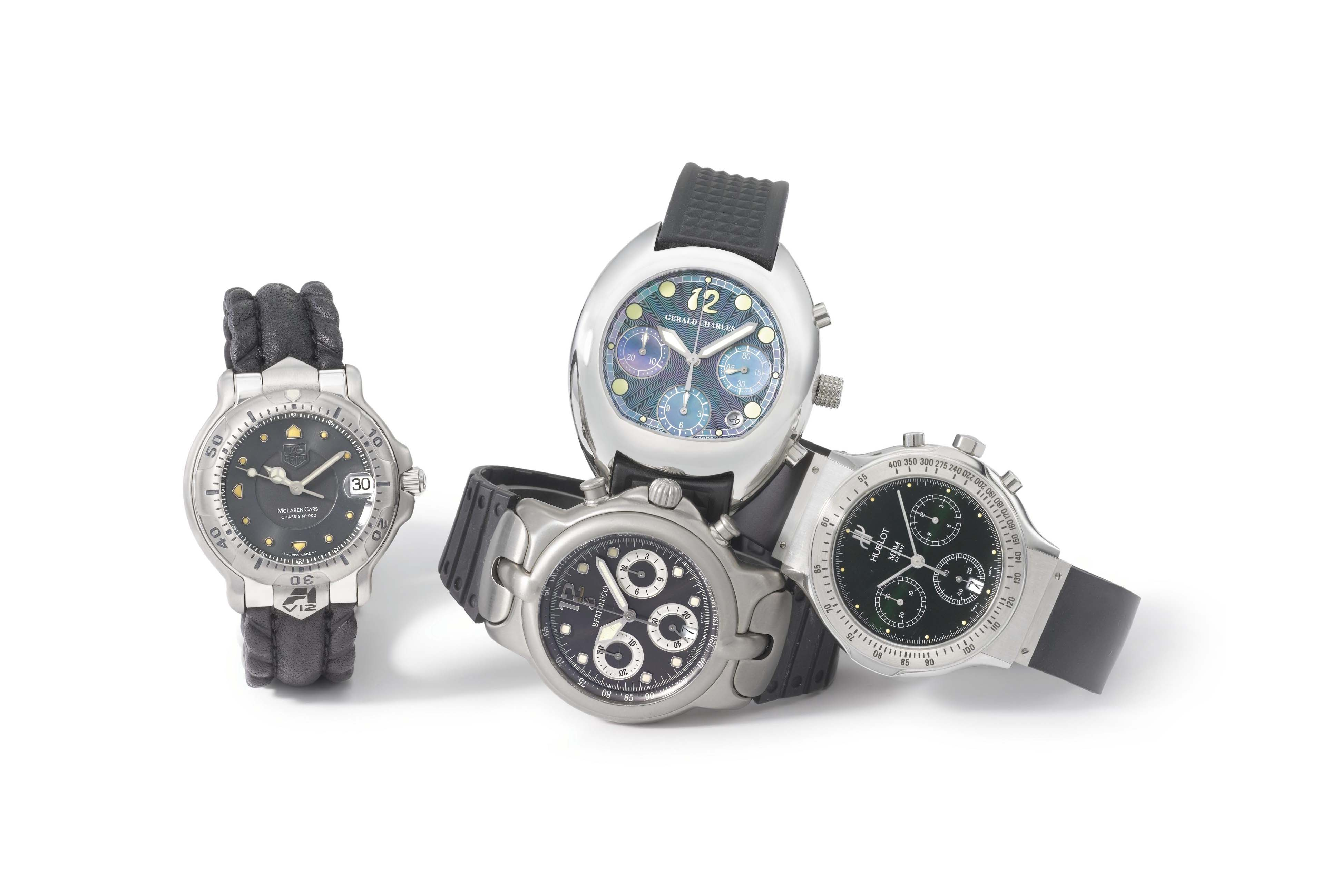 Hublot, Gerald Charles, Bertolucci and Tag Heuer. A lot of four stainless steel wristwatches