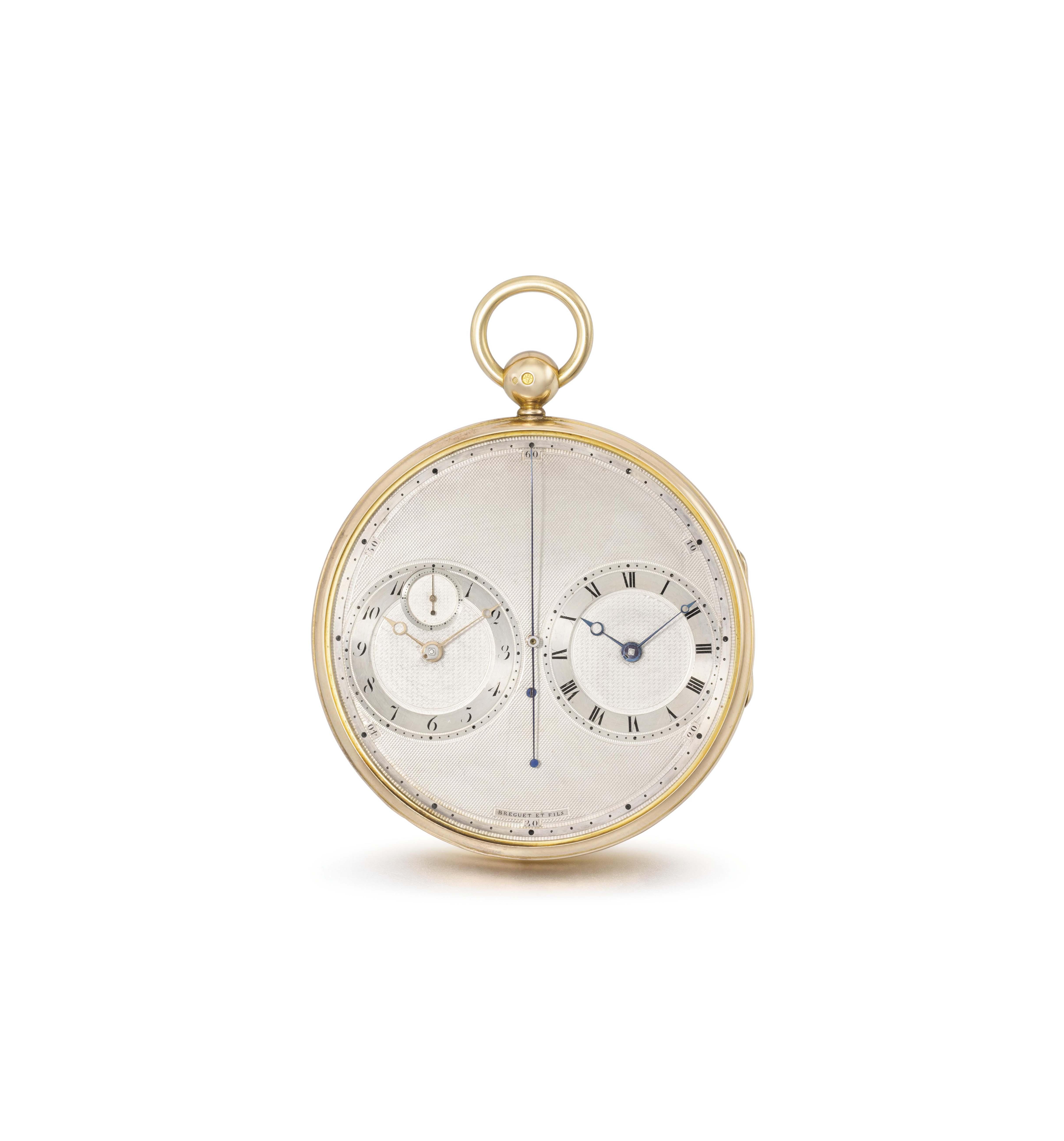 """Breguet & Fils, Paris, No. 2667 """"Montre plate à deux mouvements, sur le principe des chronomètres"""". An extremely rare and exceptionally fine and elegant 18K gold precision watch with two movements"""