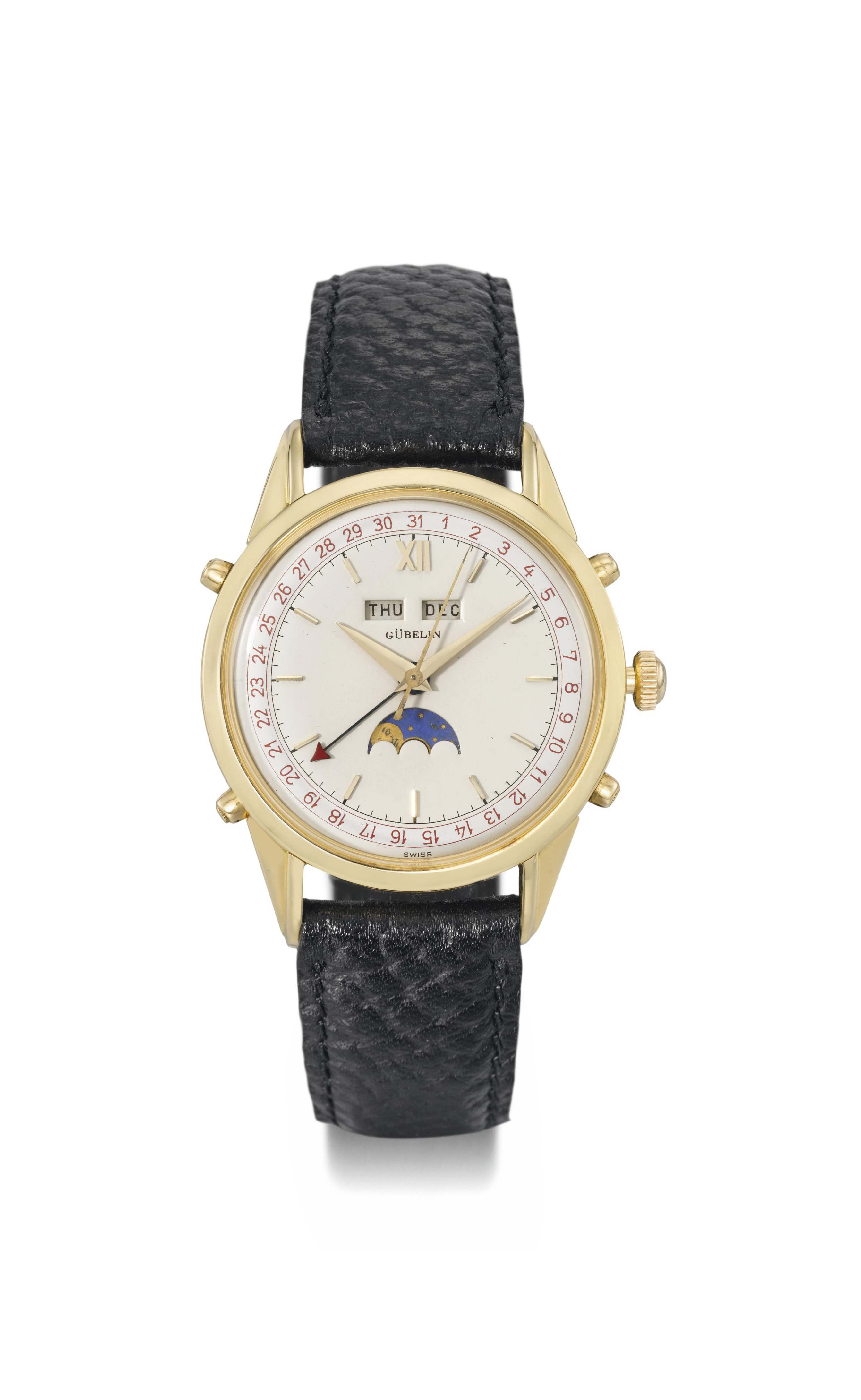 Gübelin. A fine 18K gold triple calendar automatic wristwatch with two-tone dial and moon phases
