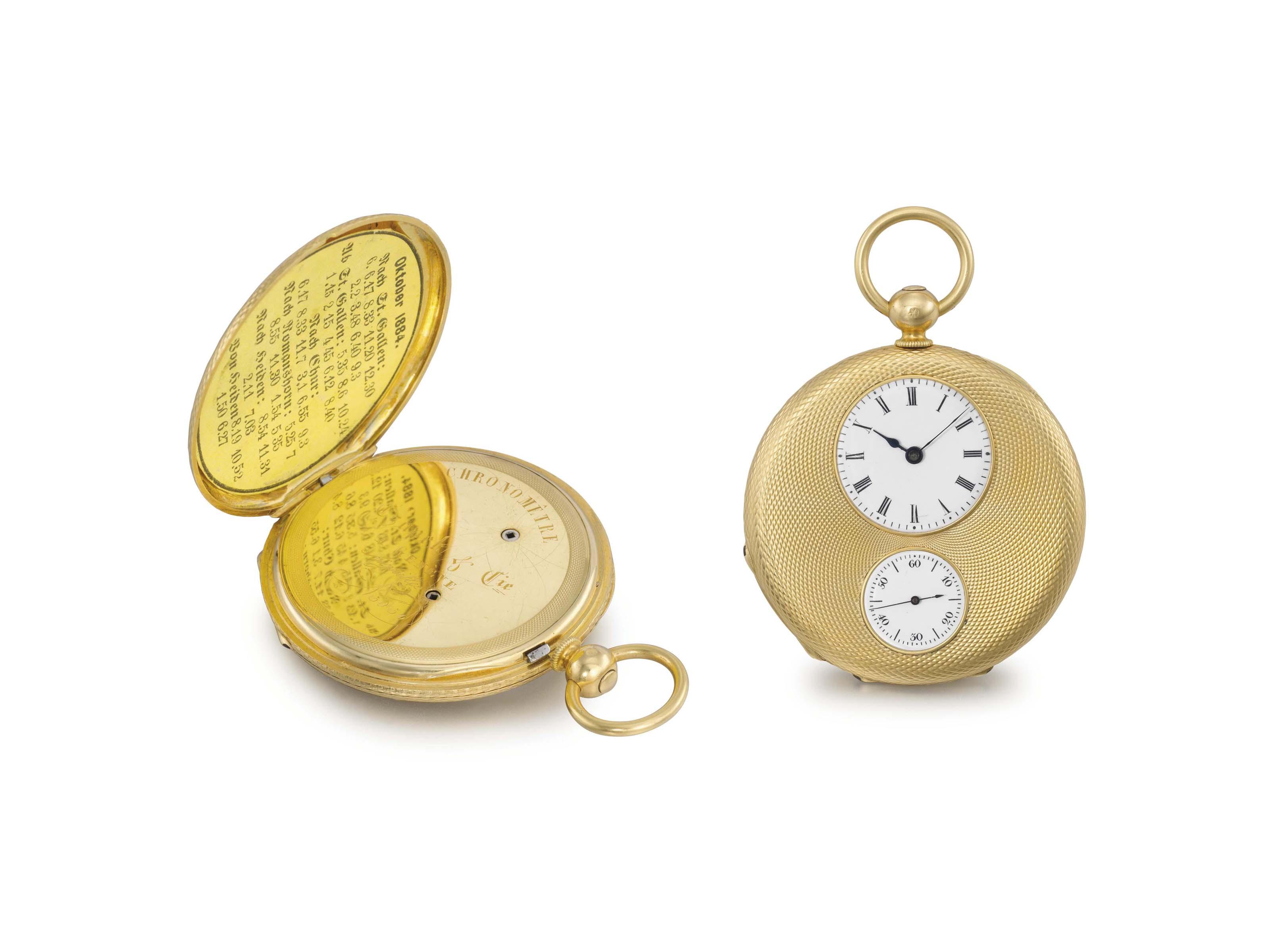 Czapek & Cie. A fine and rare 18K gold half-hunter case keywound pocket chronometer