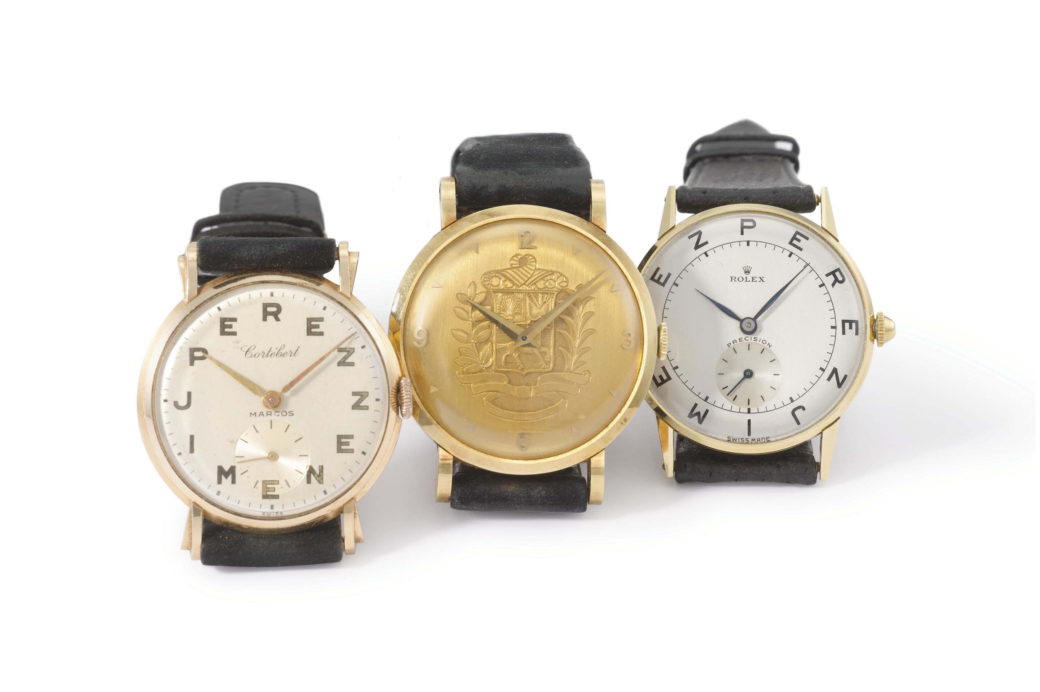 Rolex, Universal and Cortébert. A lot of two 18K yellow gold and one 18K pink gold wristwatches