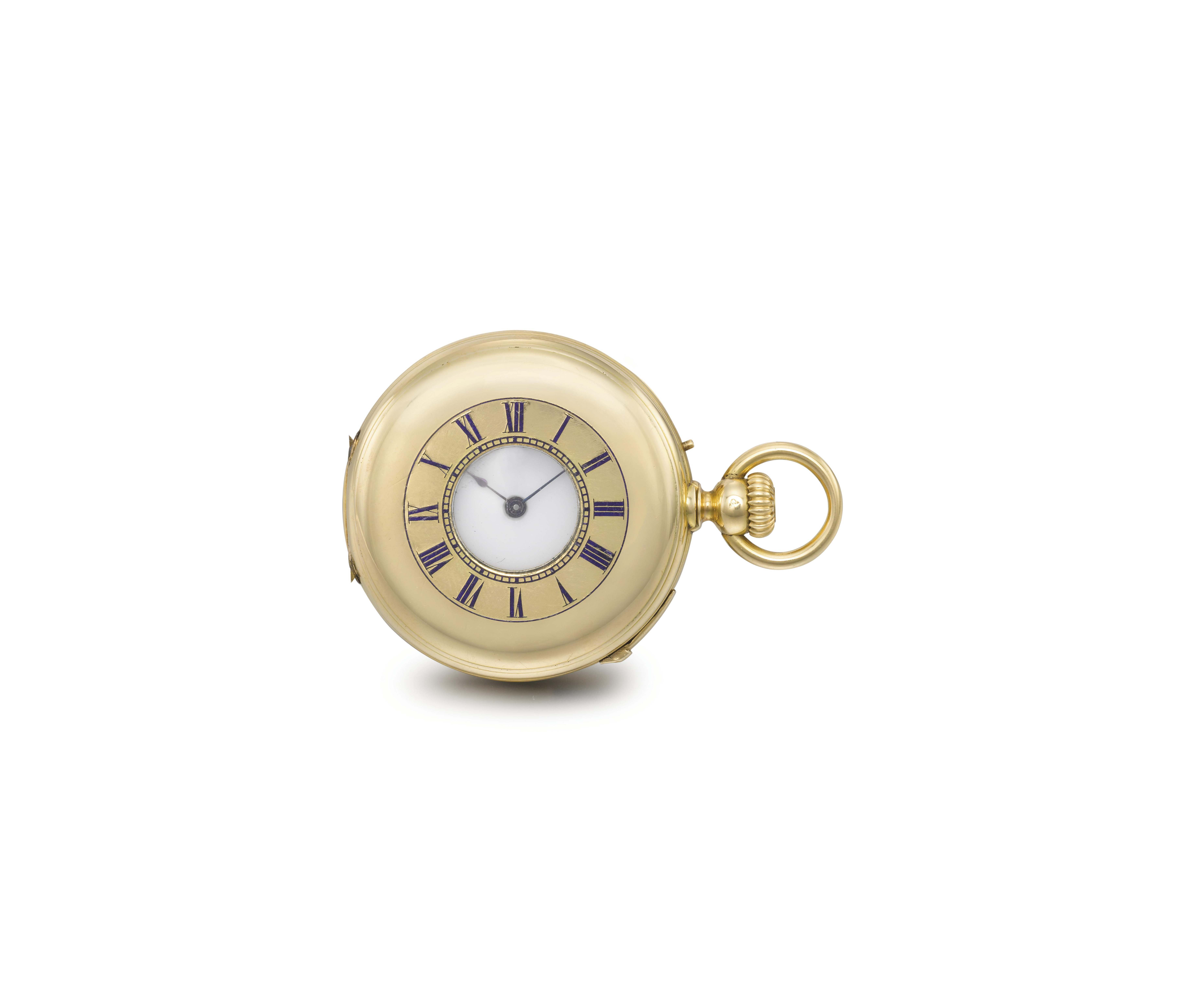 Louis Audemars made for Le Roy & Fils. A fine and small 18K gold half hunter case quarter repeating keyless lever watch