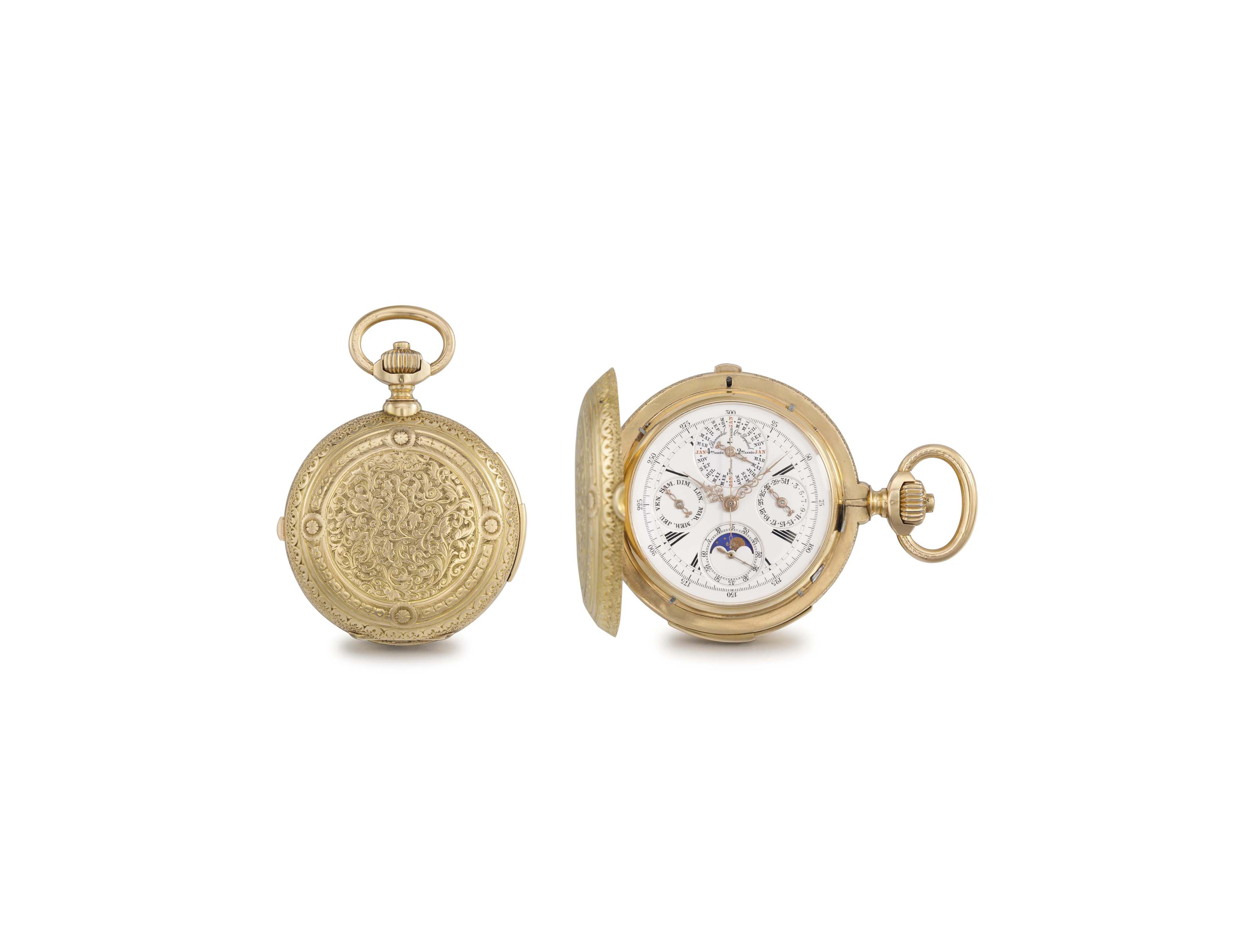 Haas. A fine and heavy 18K gold hunter case minute repeating perpetual calendar keyless lever watch with moon phases, made for the Spanish Market