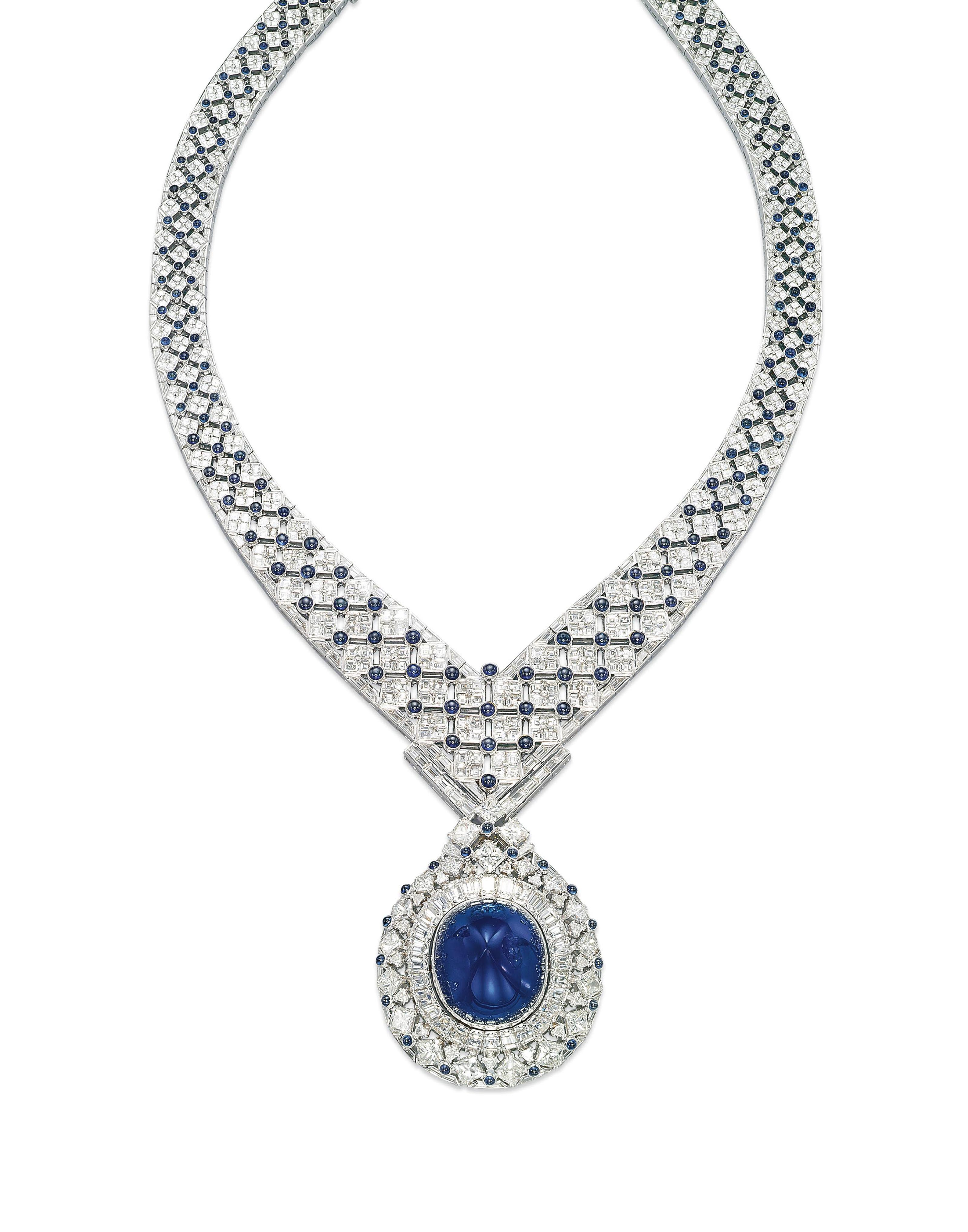 A SAPPHIRE AND DIAMOND NECKLACE, BY MOUAWAD