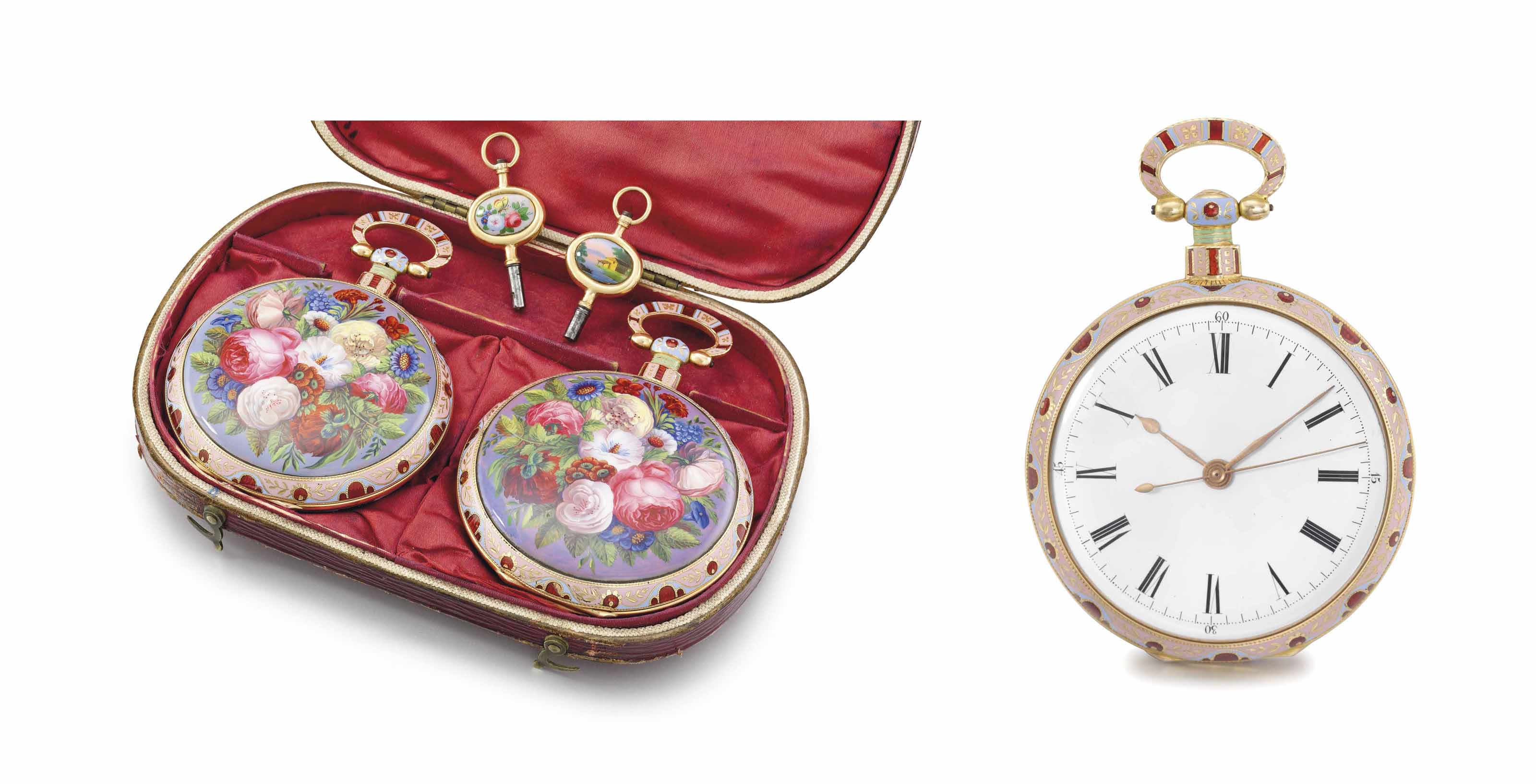 Vaucher, Fleurier. An exceptionally fine, rare and important 18K gold and enamel identical numbered, mirror-image pair of openface centre seconds duplex watches with matching gold and enamel keys and fitted box, made for the Chinese market