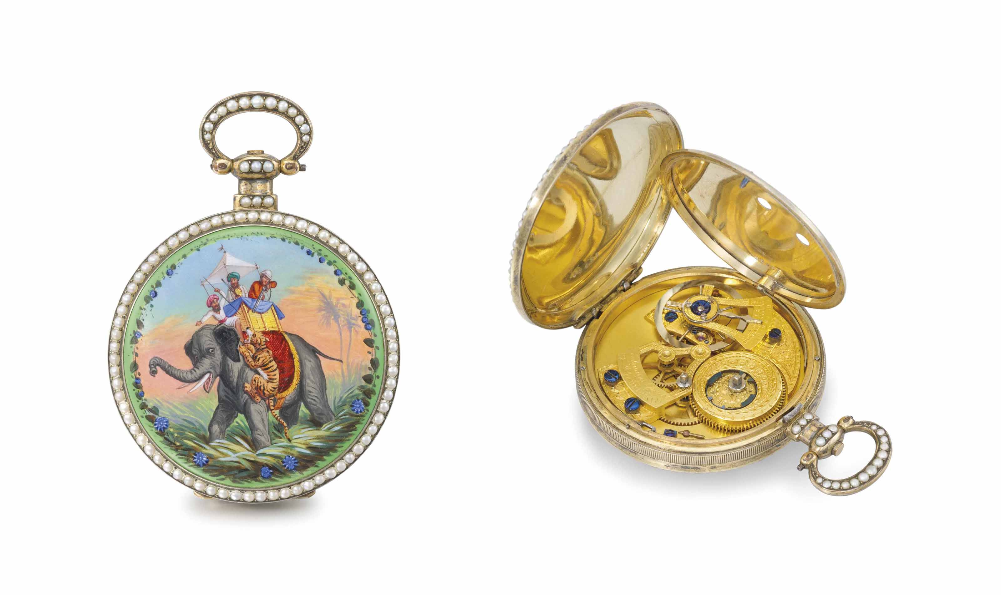 Edouard Juvet. A fine, rare and attractive silver gilt, enamel and pearl-set centre seconds duplex watch, made for the Chinese market