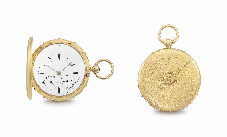Bautte. A rare 18K gold hunter case à tact watch with date and duplex escapement