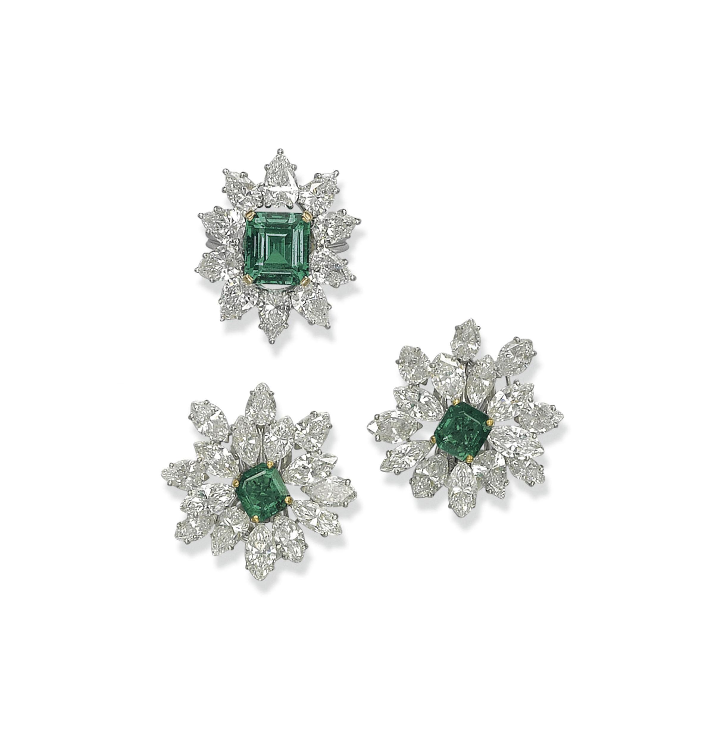 A SET OF EMERALD AND DIAMOND JEWELLERY, BY FARAONE