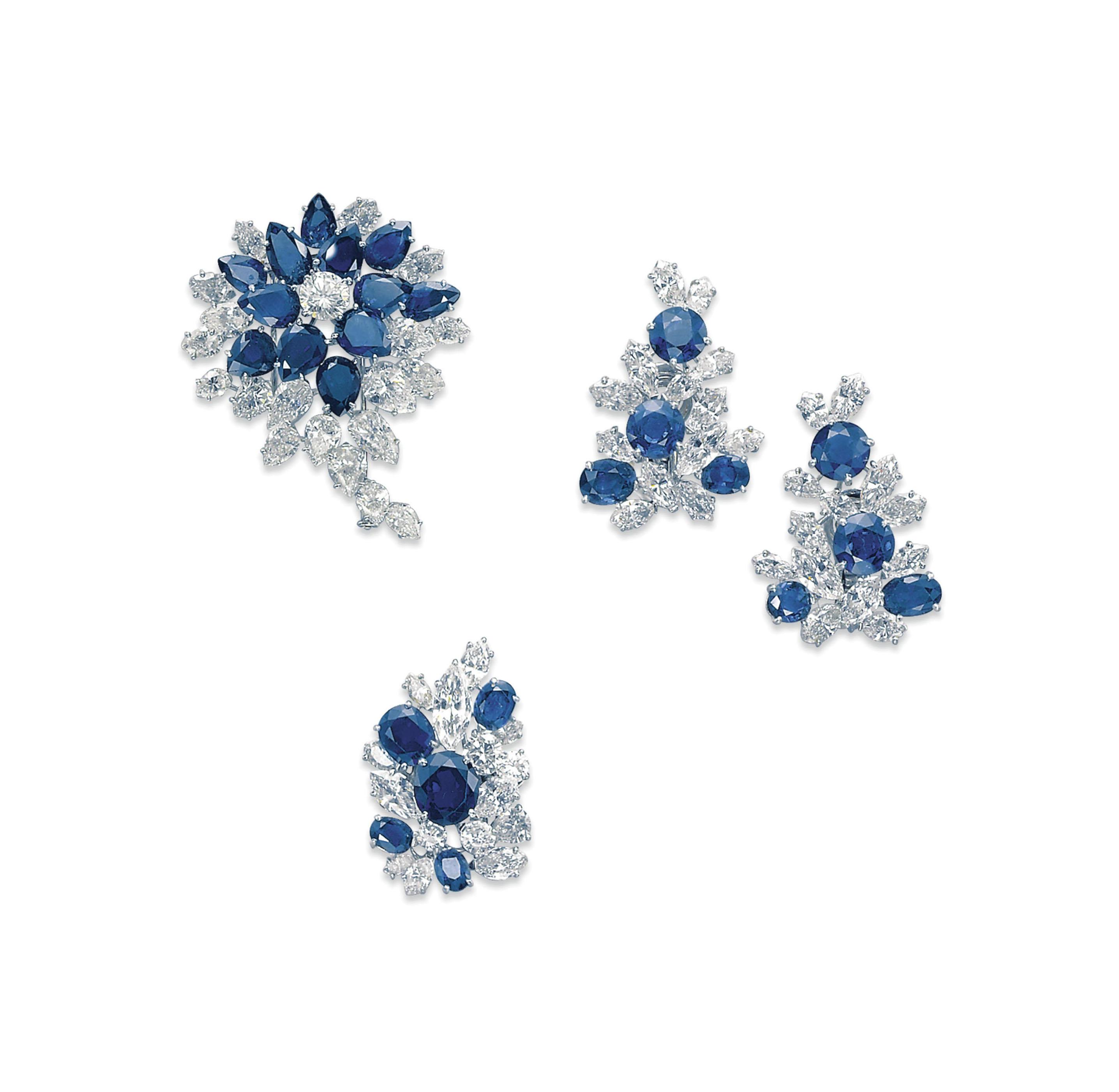A SET OF SAPPHIRE AND DIAMOND JEWELLERY, BY FARAONE