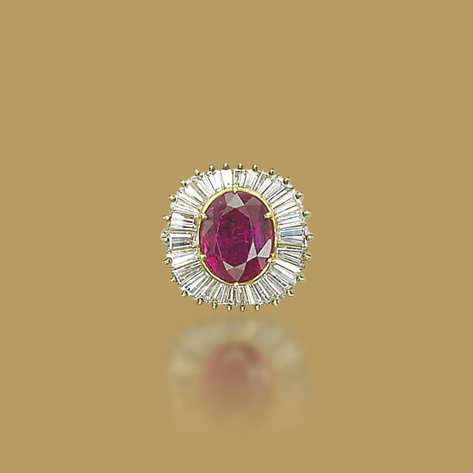 A RUBY AND DIAMOND RING, BY MEISTER