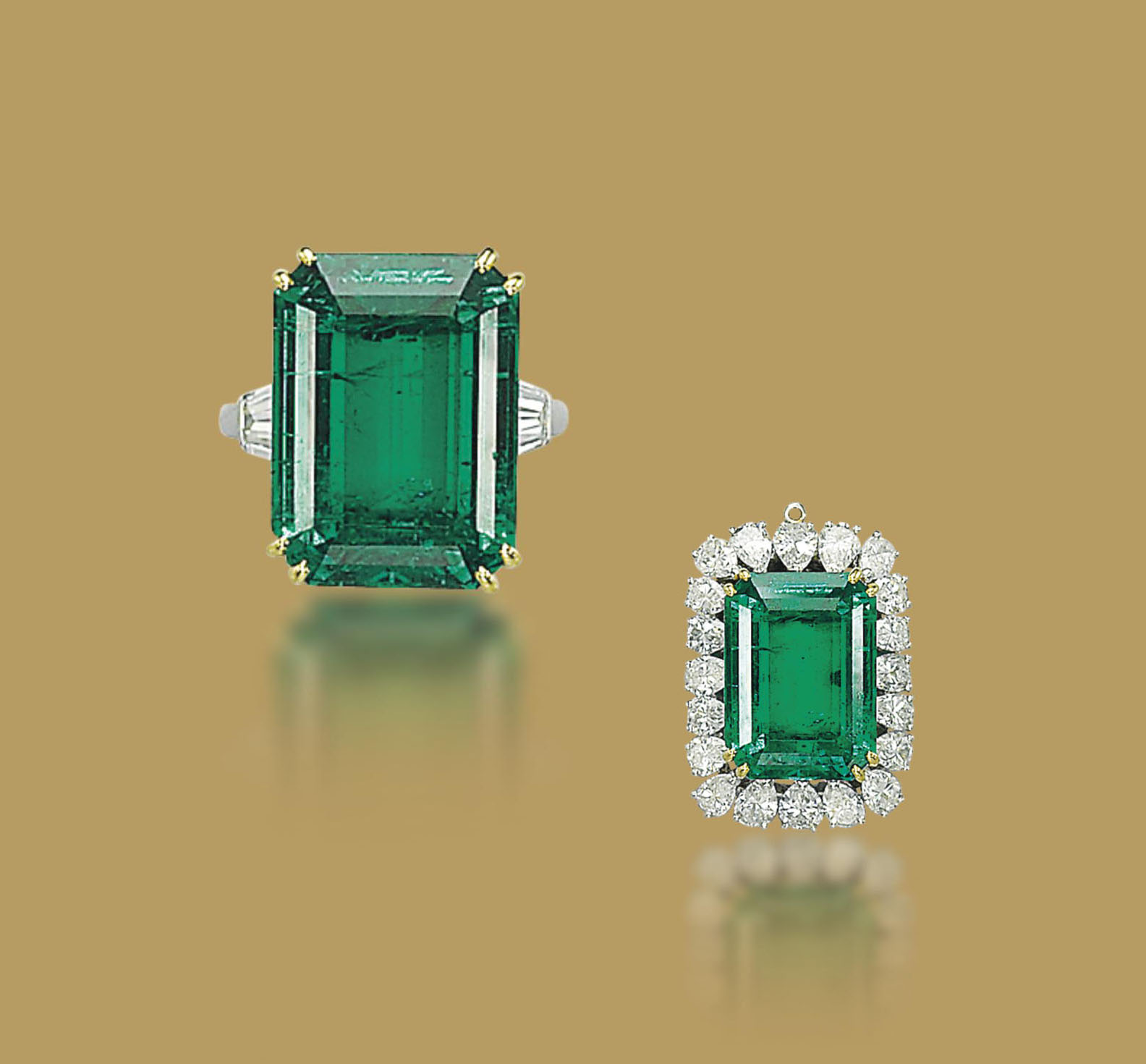 AN EMERALD AND DIAMOND RING, BY M. GÉRARD