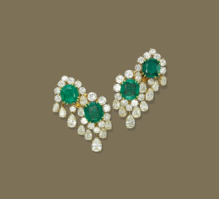 A PAIR OF EMERALD AND DIAMOND EAR PENDANTS, BY VAN CLEEF ...