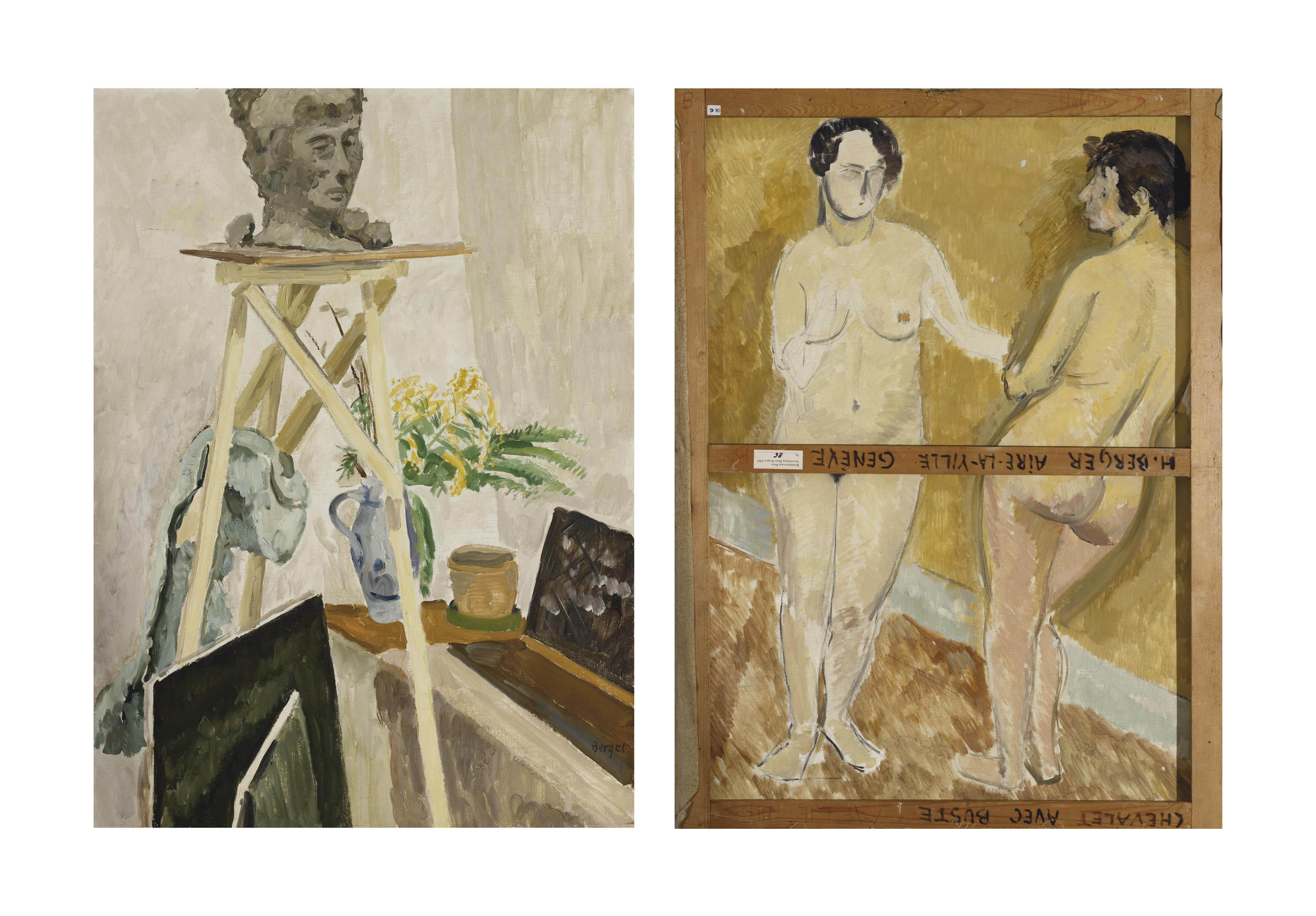Chevalet avec buste, um 1930 (verso: Zwei stehende Frauenakte)