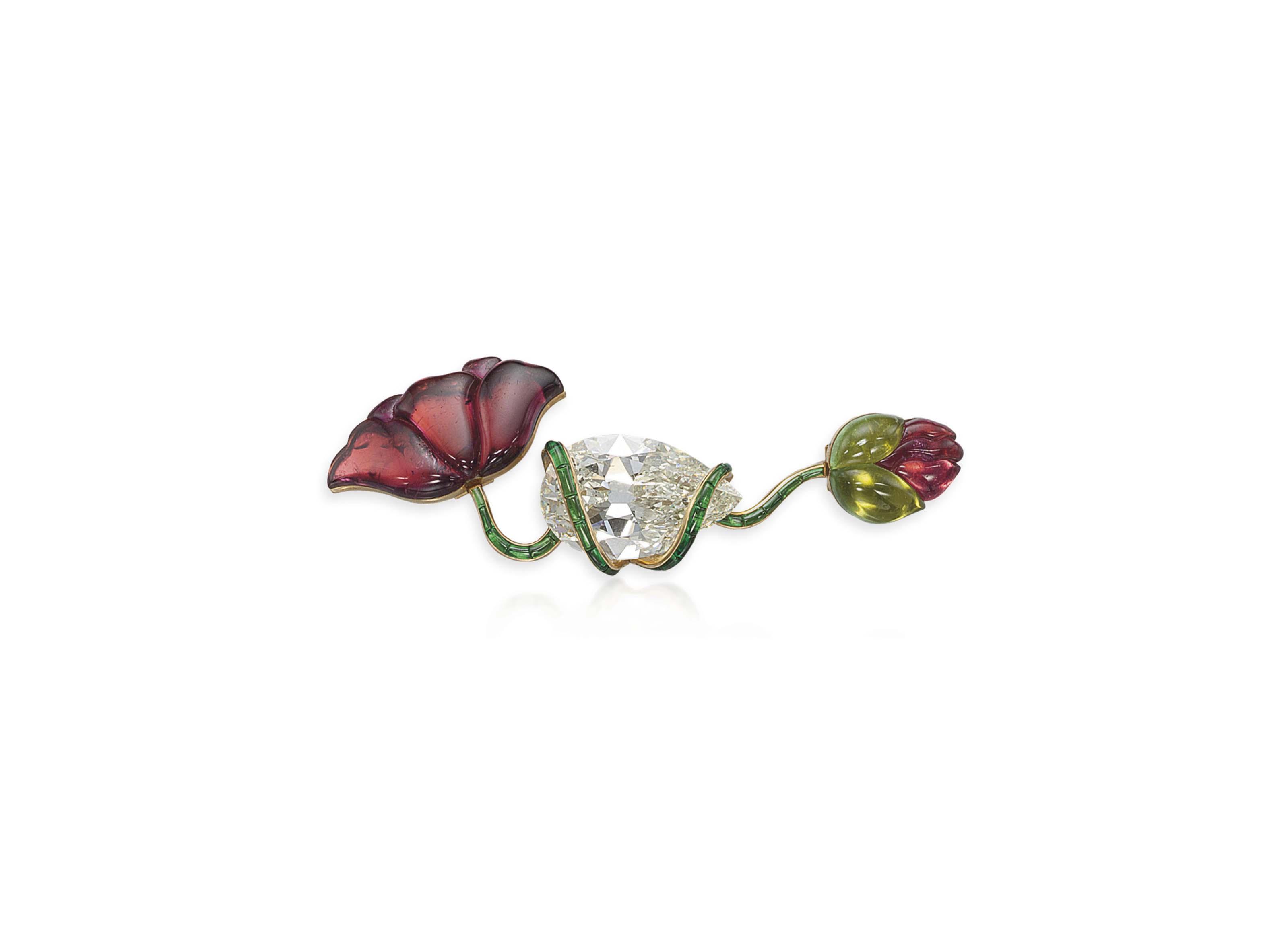 A TOURMALINE AND DIAMOND FLOWER BROOCH, BY JAR