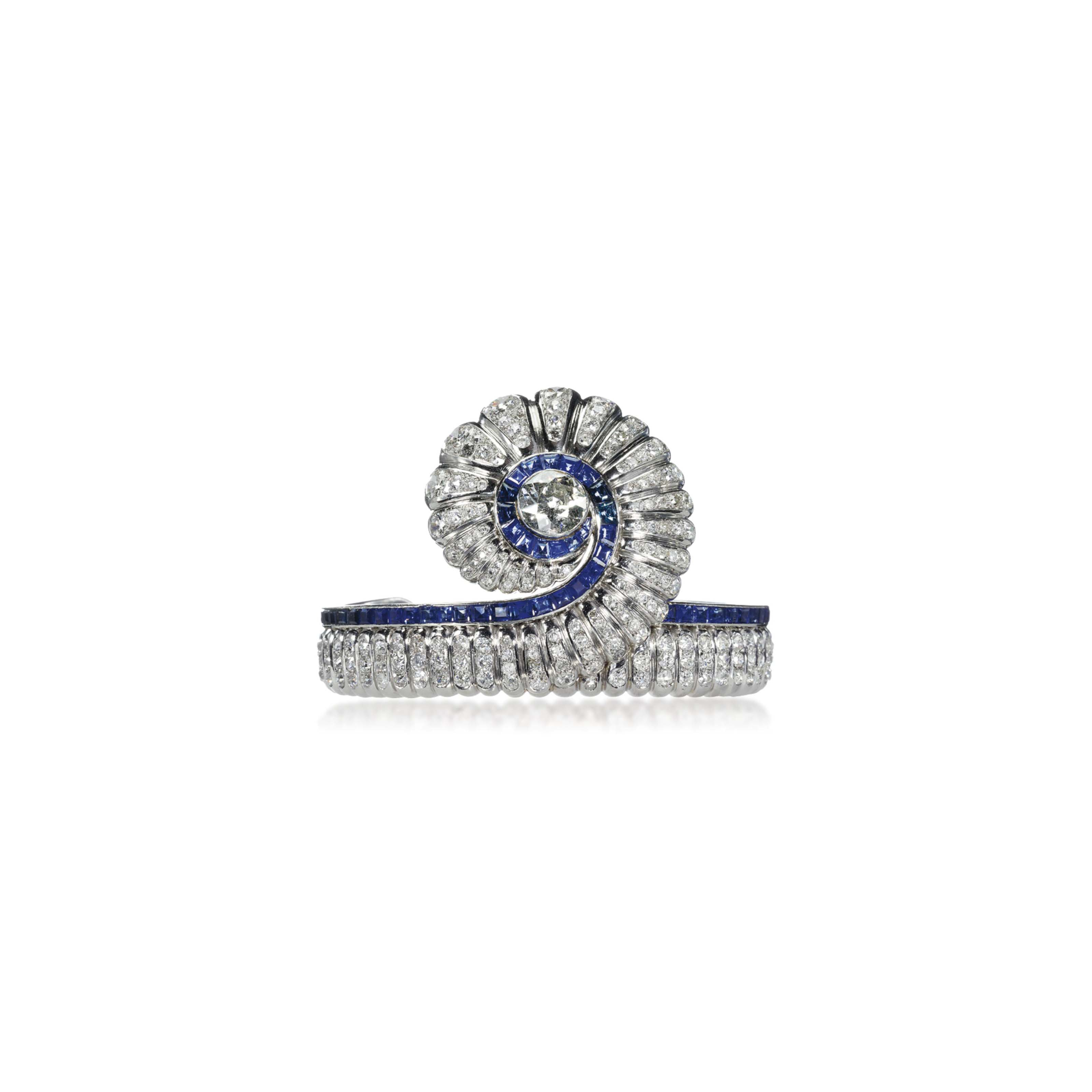 A SAPPHIRE AND DIAMOND BANGLE, BY SUZANNE BELPERRON