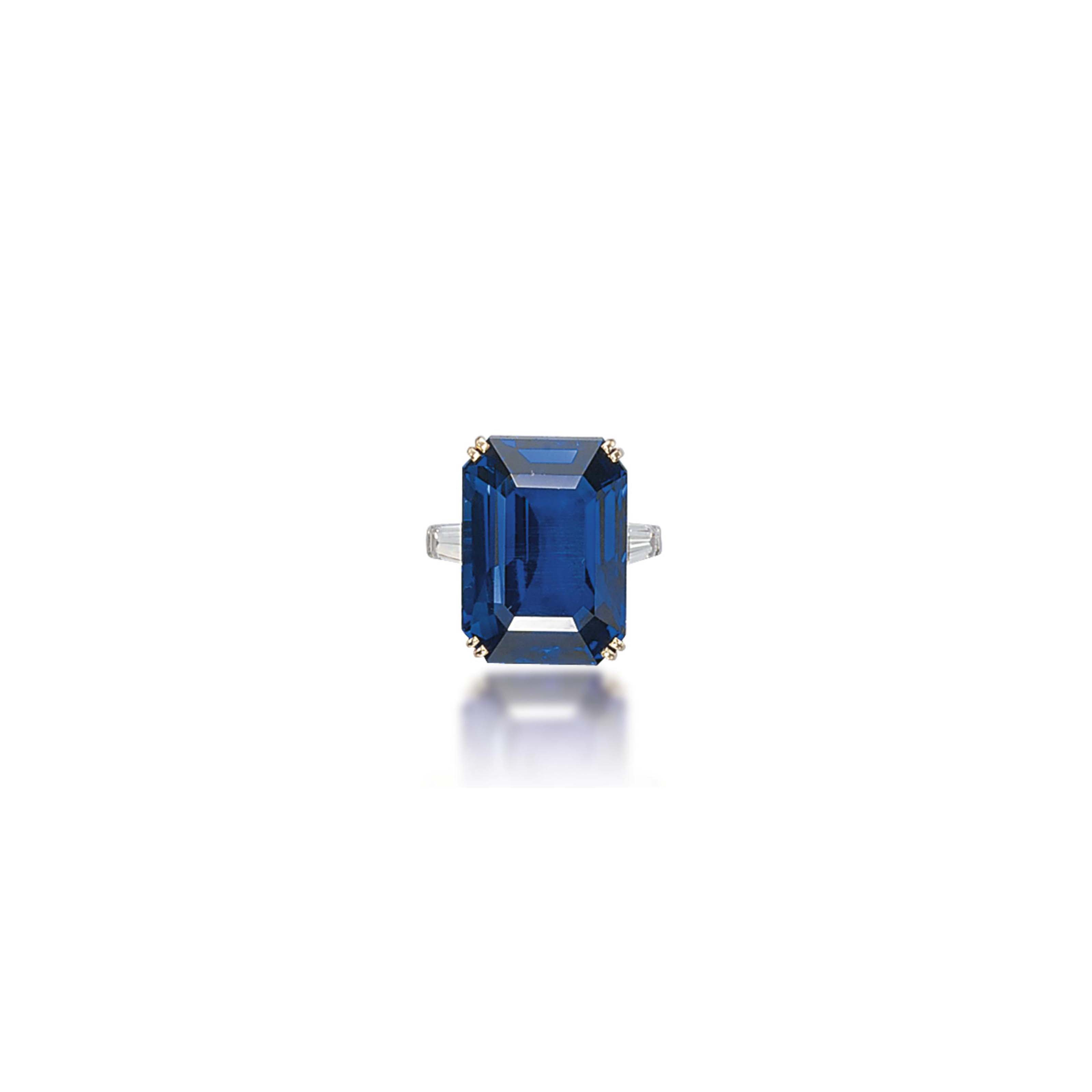 A SAPPHIRE AND DIAMOND RING, MOUNTED BY BOUCHERON