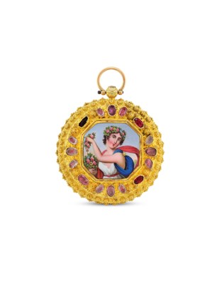 SWISS. A GILT, ENAMEL AND PAST