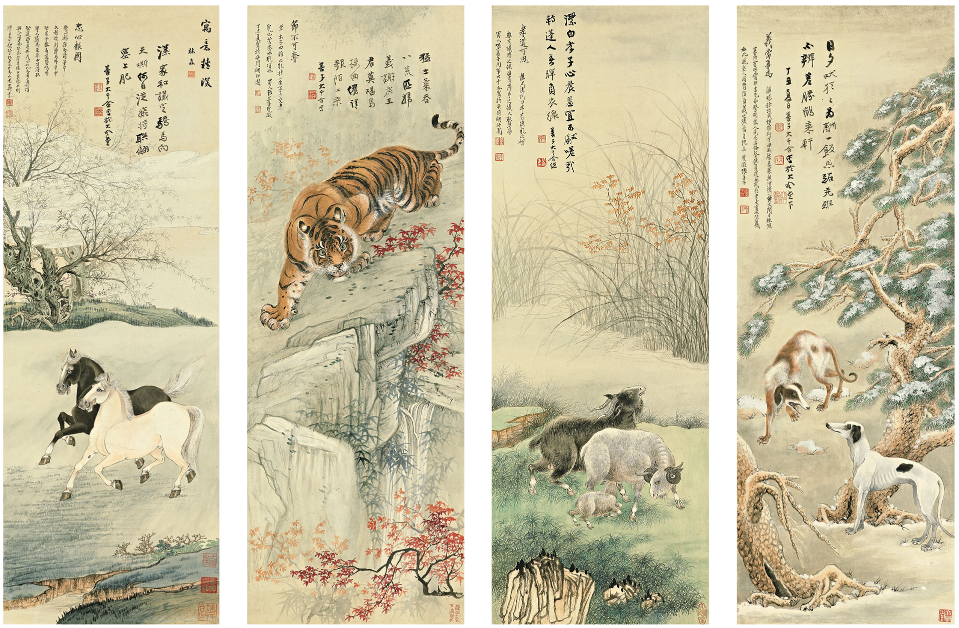 Tiger, Goats, Hounds and Horses