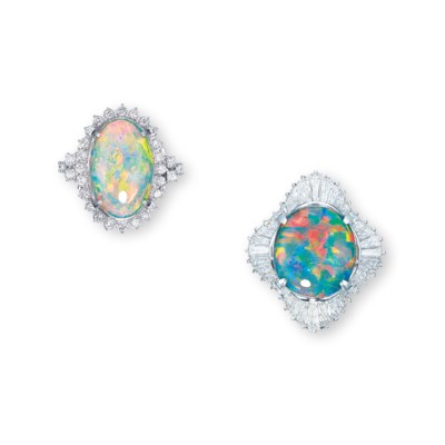 A GROUP OF OPAL AND DIAMOND RI
