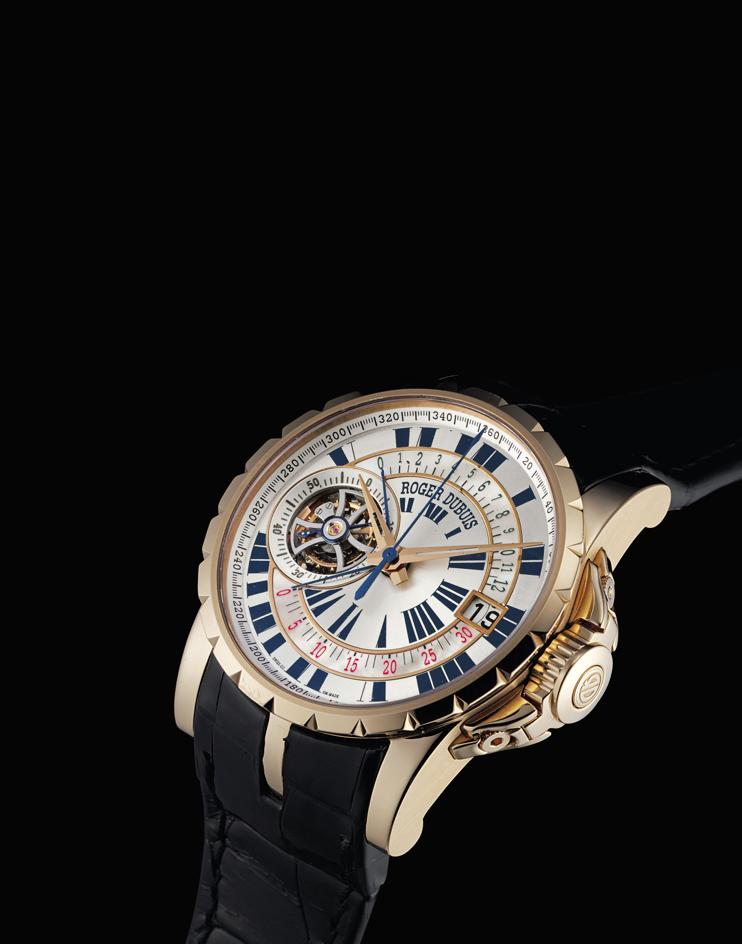 ROGER DUBUIS. A LARGE AND RARE 18K PINK GOLD AND MOTHER-OF-PEARL LIMITED EDITION SINGLE BUTTON CHRONOGRAPH TOURBILLON WRISTWATCH WITH DATE AND RETROGRADE REGISTERS