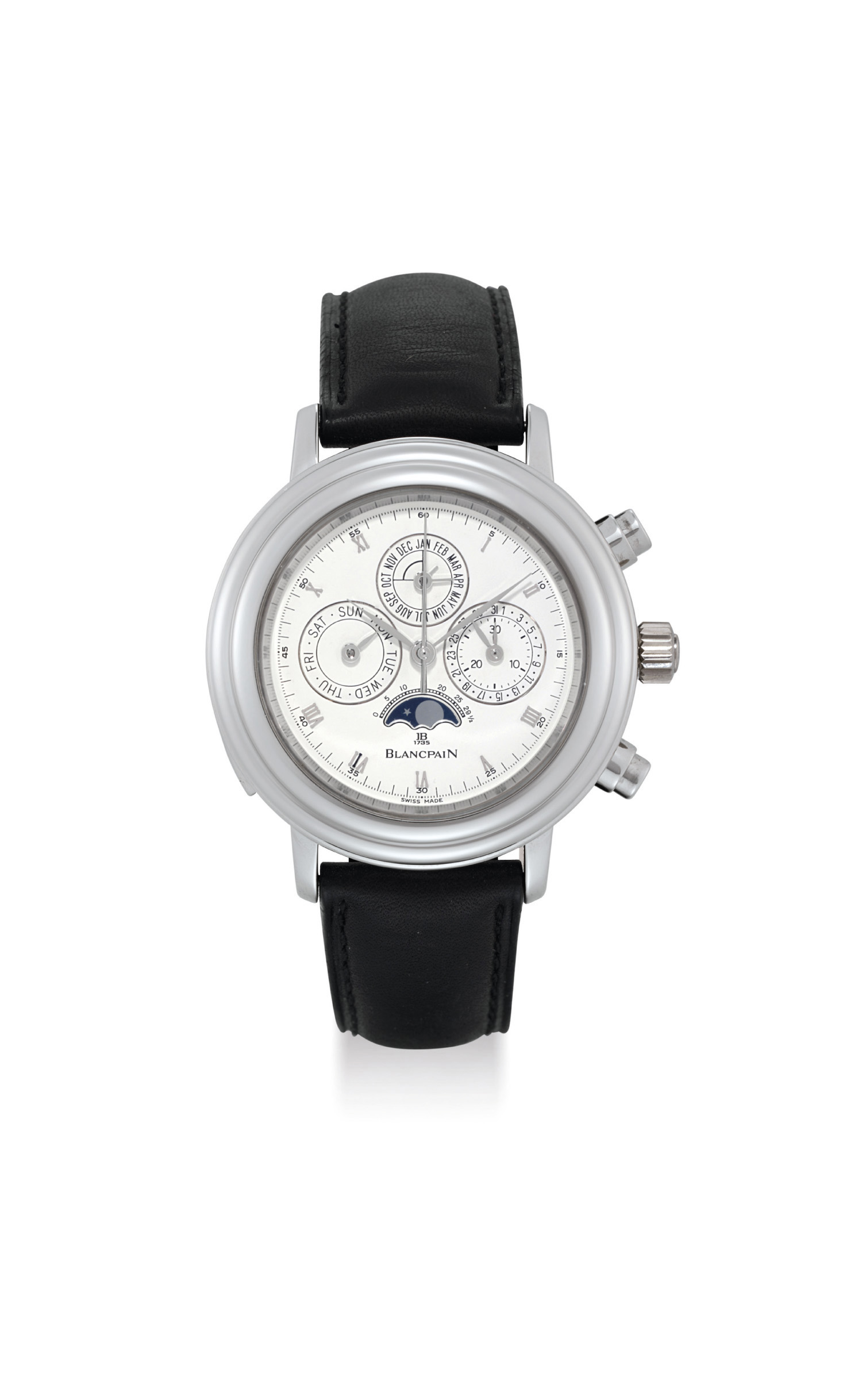 BLANCPAIN. AN EXTREMELY RARE AND IMPORTANT PLATINUM LIMITED EDITION AUTOMATIC MINUTE REPEATING PERPETUAL CALENDAR SPLIT SECONDS CHRONOGRAPH WRISTWATCH WITH TOURBILLON, MOON PHASES AND LEAP YEAR INDICATION