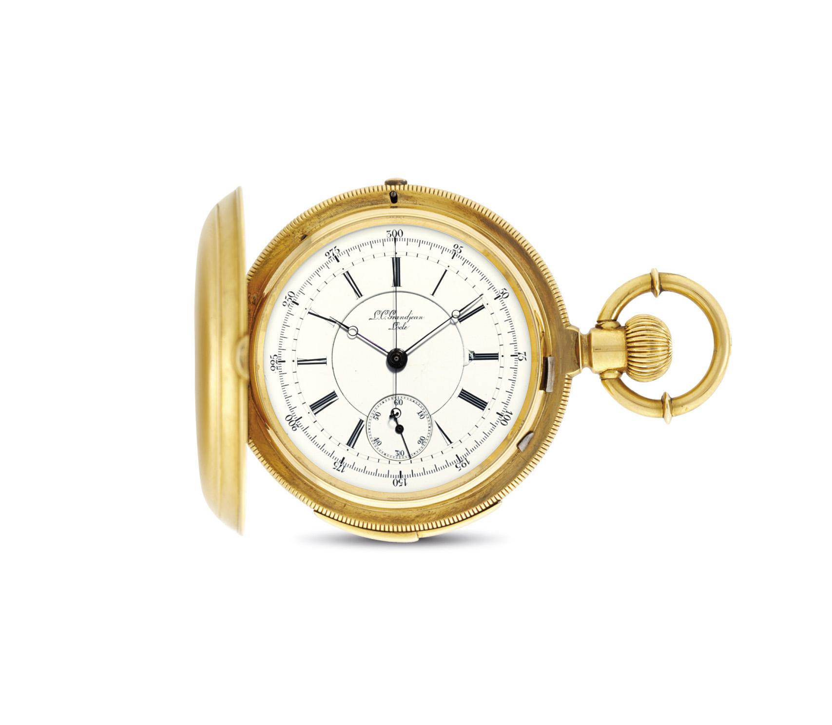 GRANDJEAN. AN 18K GOLD HUNTER CASE MINUTE REPEATING CHRONOGRAPH KEYLESS LEVER WATCH