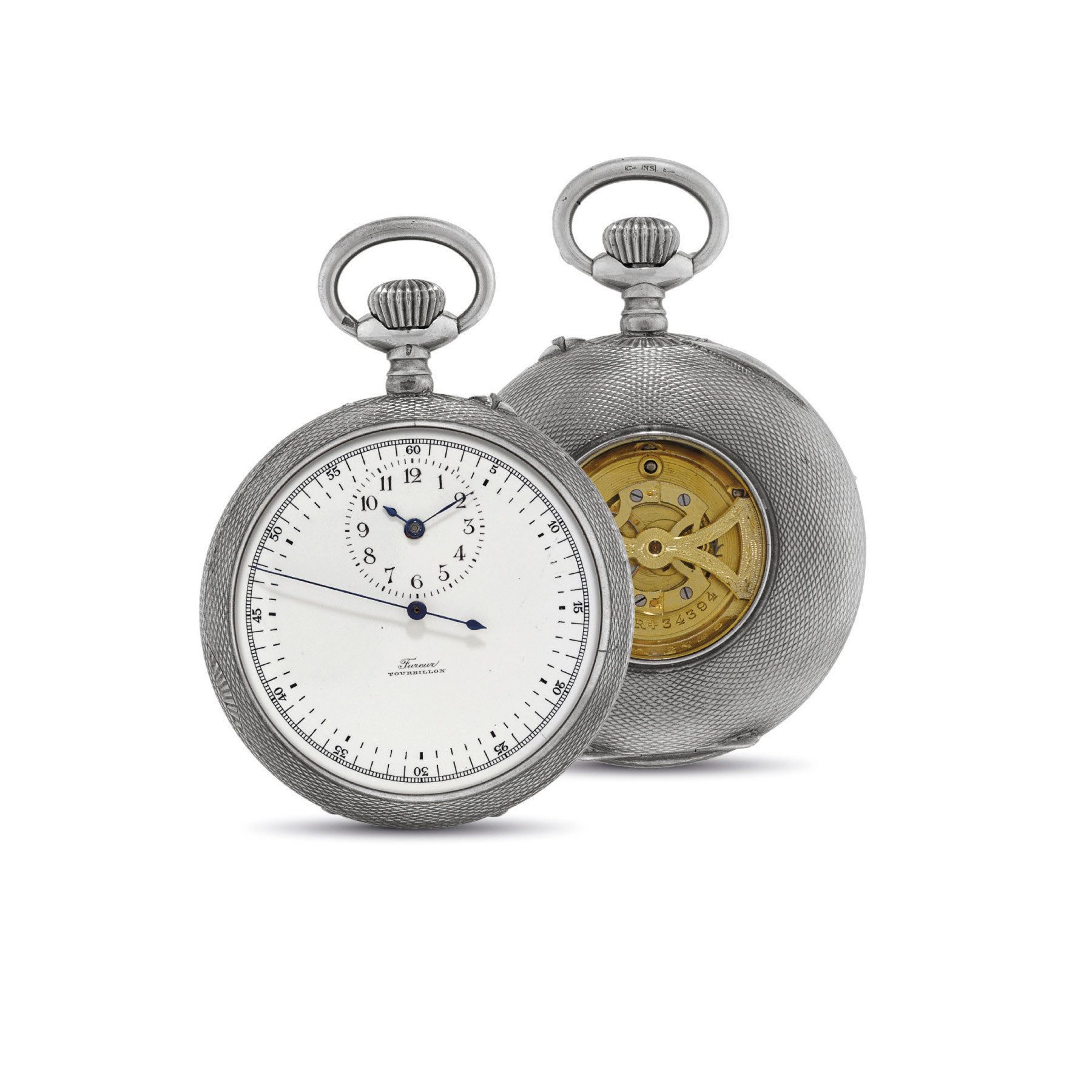FUREUR. AN UNUSUAL AND RARE SILVER OPENFACE TOURBILLON KEYLESS LEVER WATCH WITH REGULATOR STYLE DIAL AND CENTRE SECONDS