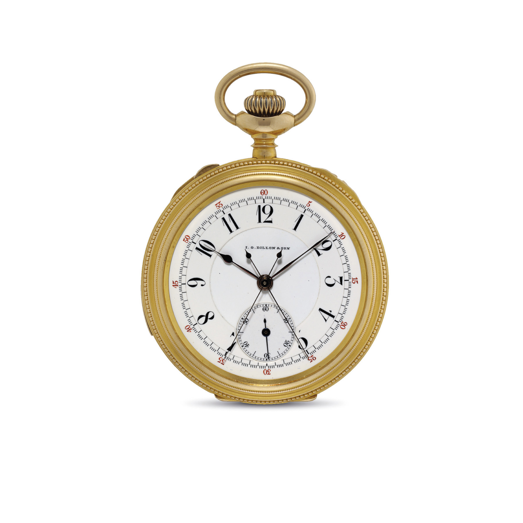C.H. MEYLAN. A 14K GOLD OPENFACE MINUTE REPEATING SPLIT SECOND CHRONOGRAPH KEYLESS LEVER WATCH WITH ASSOCIATED GOLD CHAIN