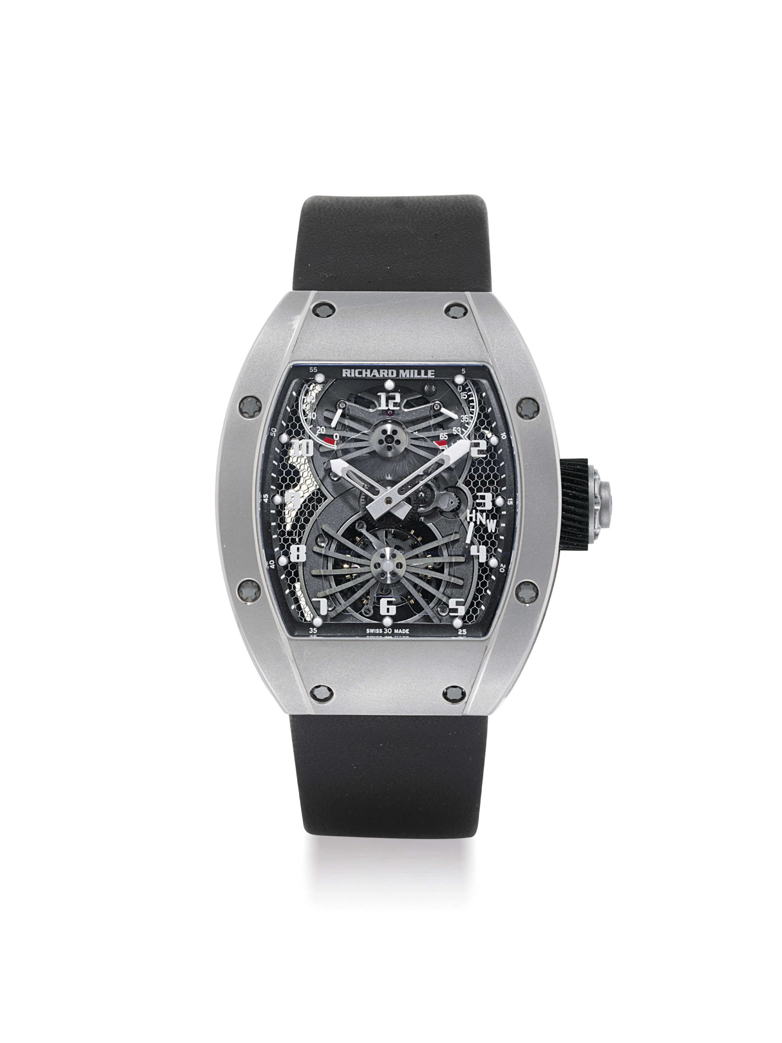 RICHARD MILLE. A FINE AND VERY RARE 18K WHITE GOLD TOURBILLON WRISTWATCH WITH POWER RESERVE AND TORQUE INDICATOR