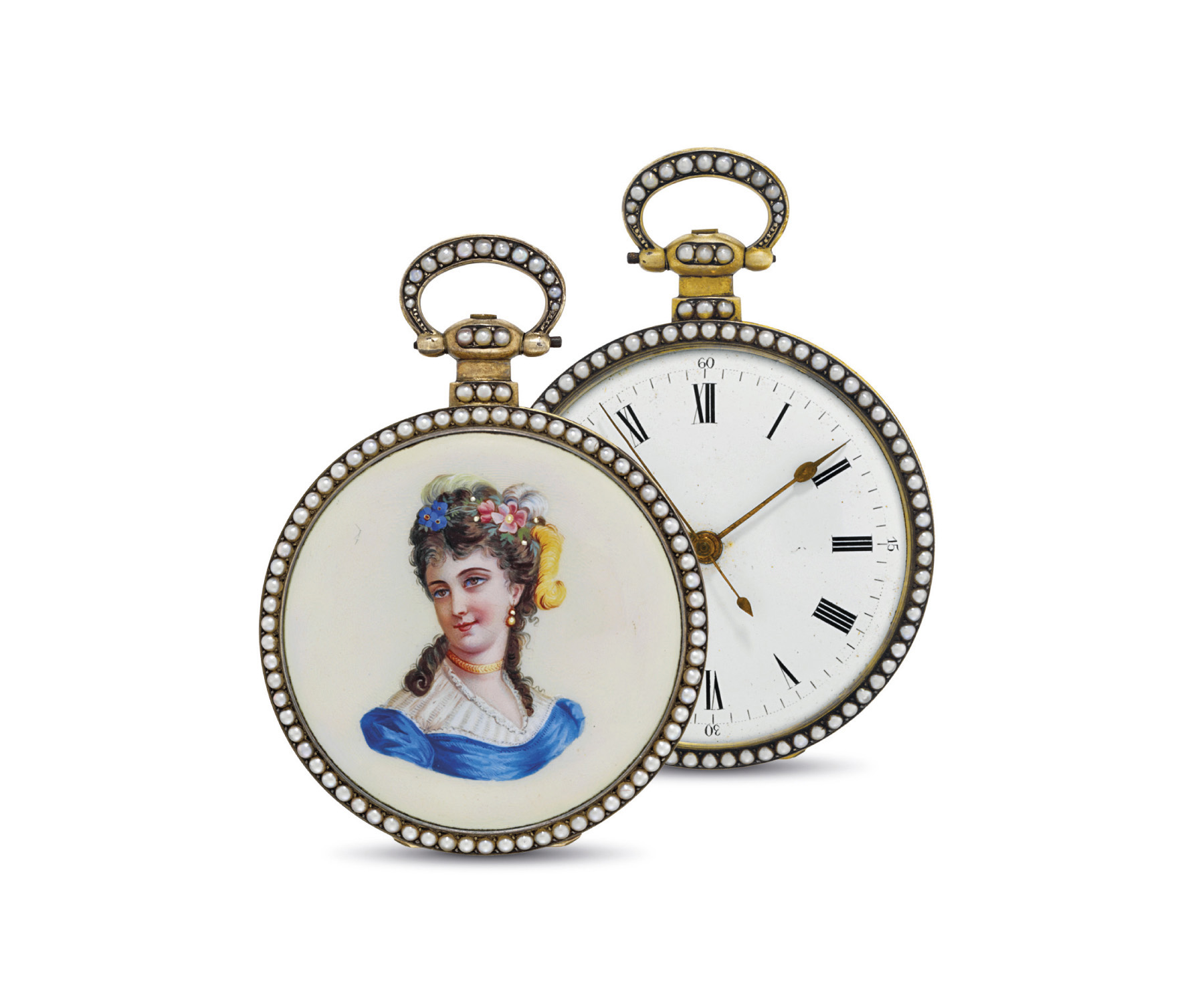 JUVET. AN ATTRACTIVE GILT, ENAMEL AND PEARL-SET OPENFACE KEYWOUND DUPLEX WATCH WITH CENTRE SECONDS, MADE FOR THE CHINESE MARKET