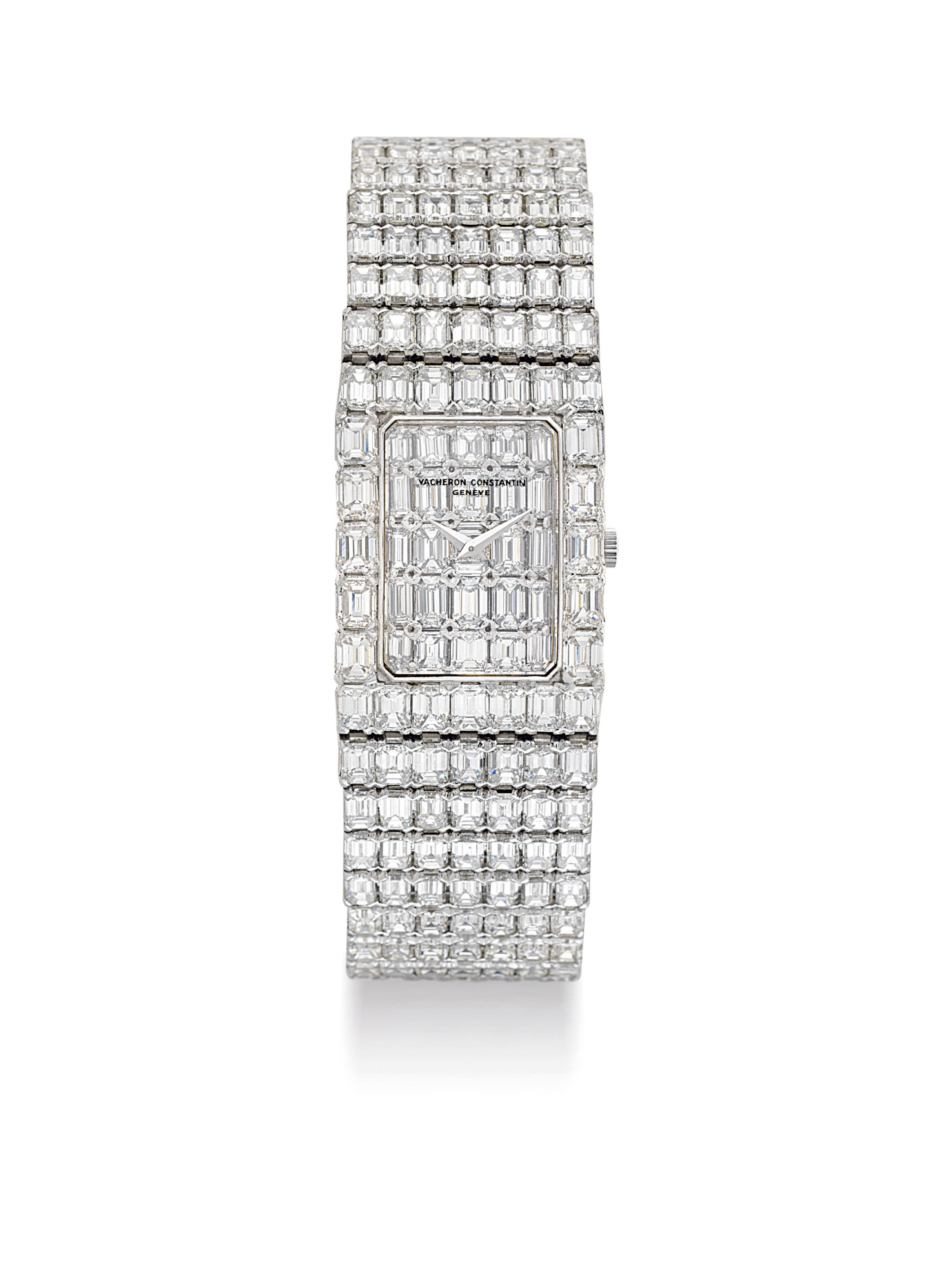 VACHERON CONSTANTIN. A SUPERB AND MAGNIFICENT 18K WHITE GOLD AND DIAMOND-SET RECTANGULAR BRACELET WATCH