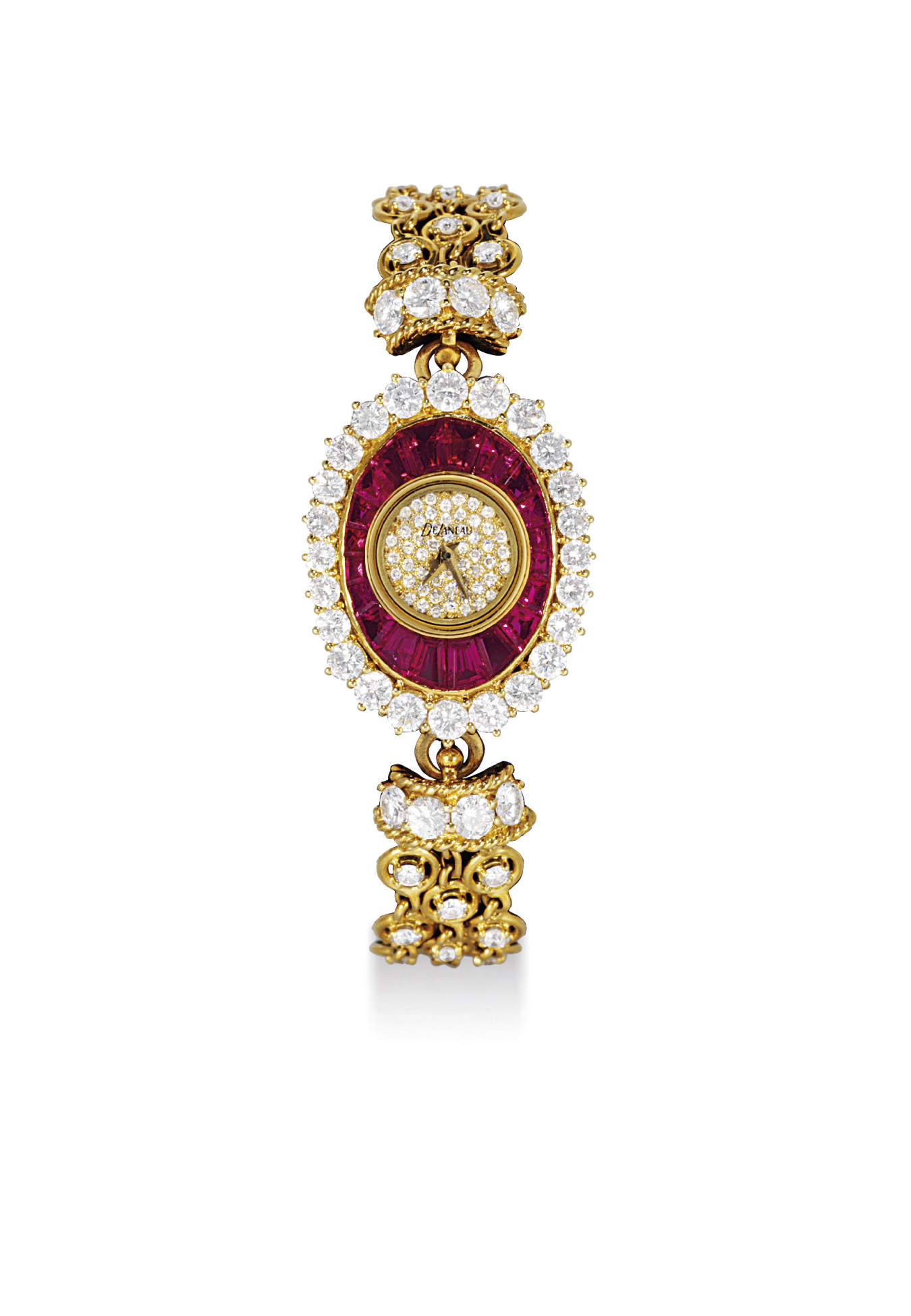 DELANEAU. A LADY'S FINE 18K GOLD, RUBY AND DIAMOND-SET OVAL BRACELET WATCH
